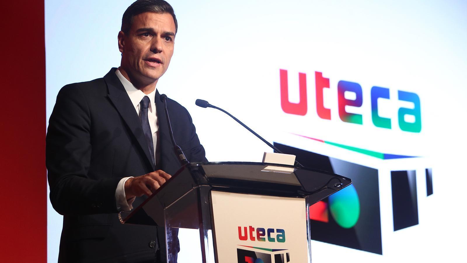 El president espanyol, Pedro Sánchez, a l'acte de celebració del vintè aniversari d'Uteca, el 2018