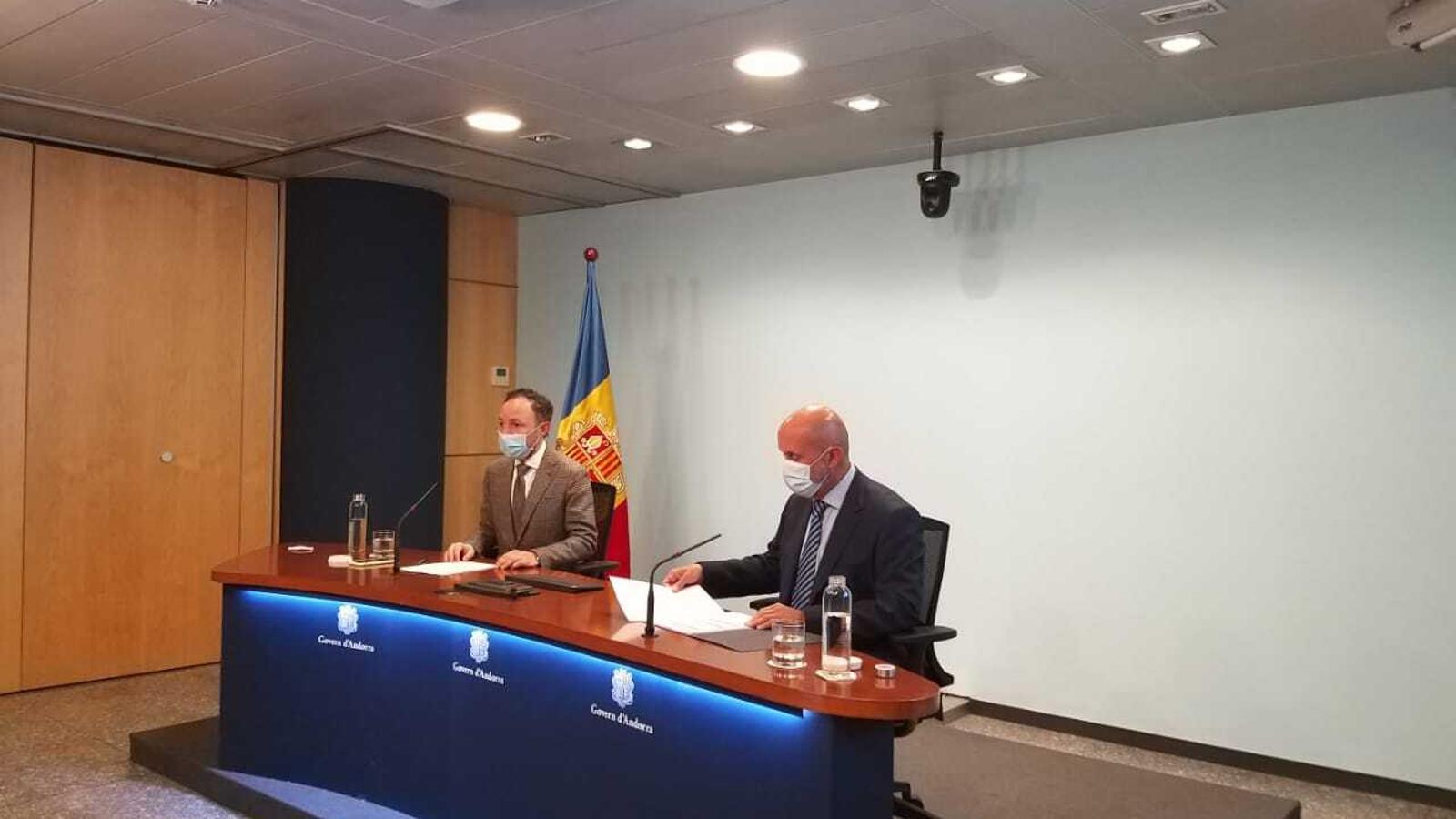 El cap de Govern i el ministre de Salut, Xavier Espot i Joan Martínez, aquest dimecres a Govern / MF