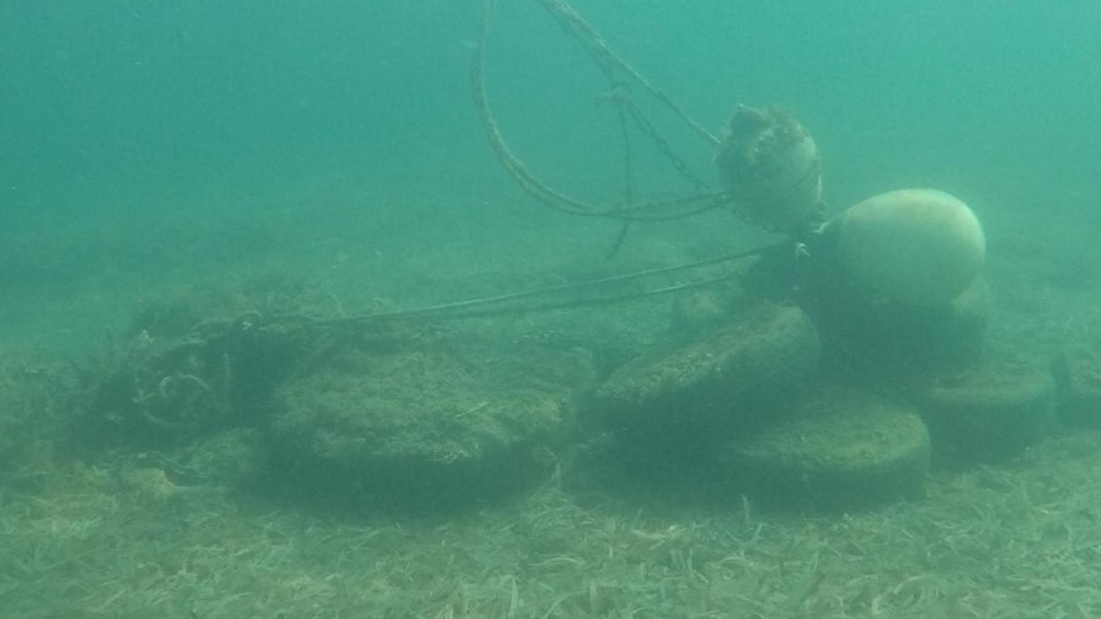 Imatge d'un dels morts il·legals de fondeig a la badia de Portmany, a Eivissa.