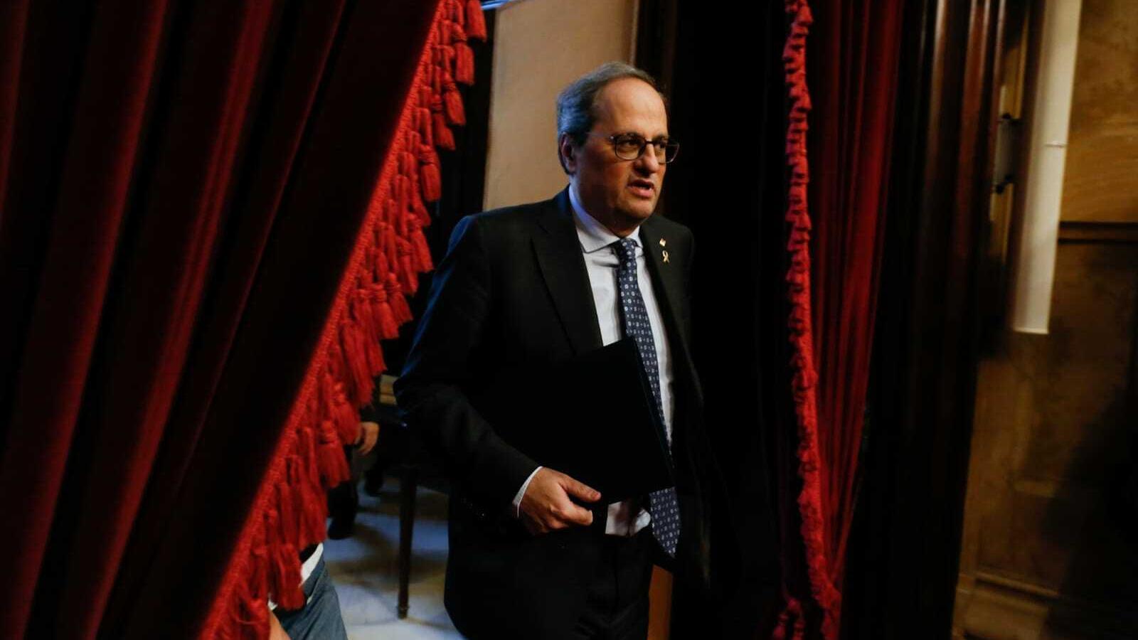 El president del Parlament, Quim Torra, aquest dilluns al ple del Parlament.