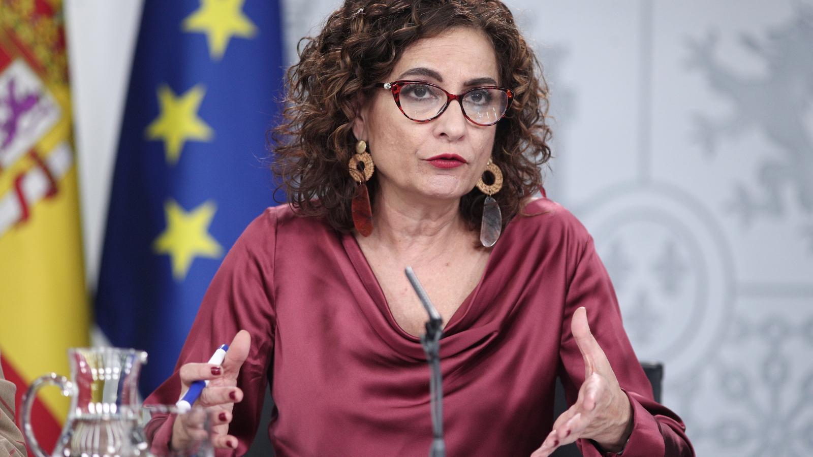 La ministra d'Hisenda i portaveu del govern espanyol, María Jesús Montero, avui durant la roda de premsa posterior al consell de ministres.
