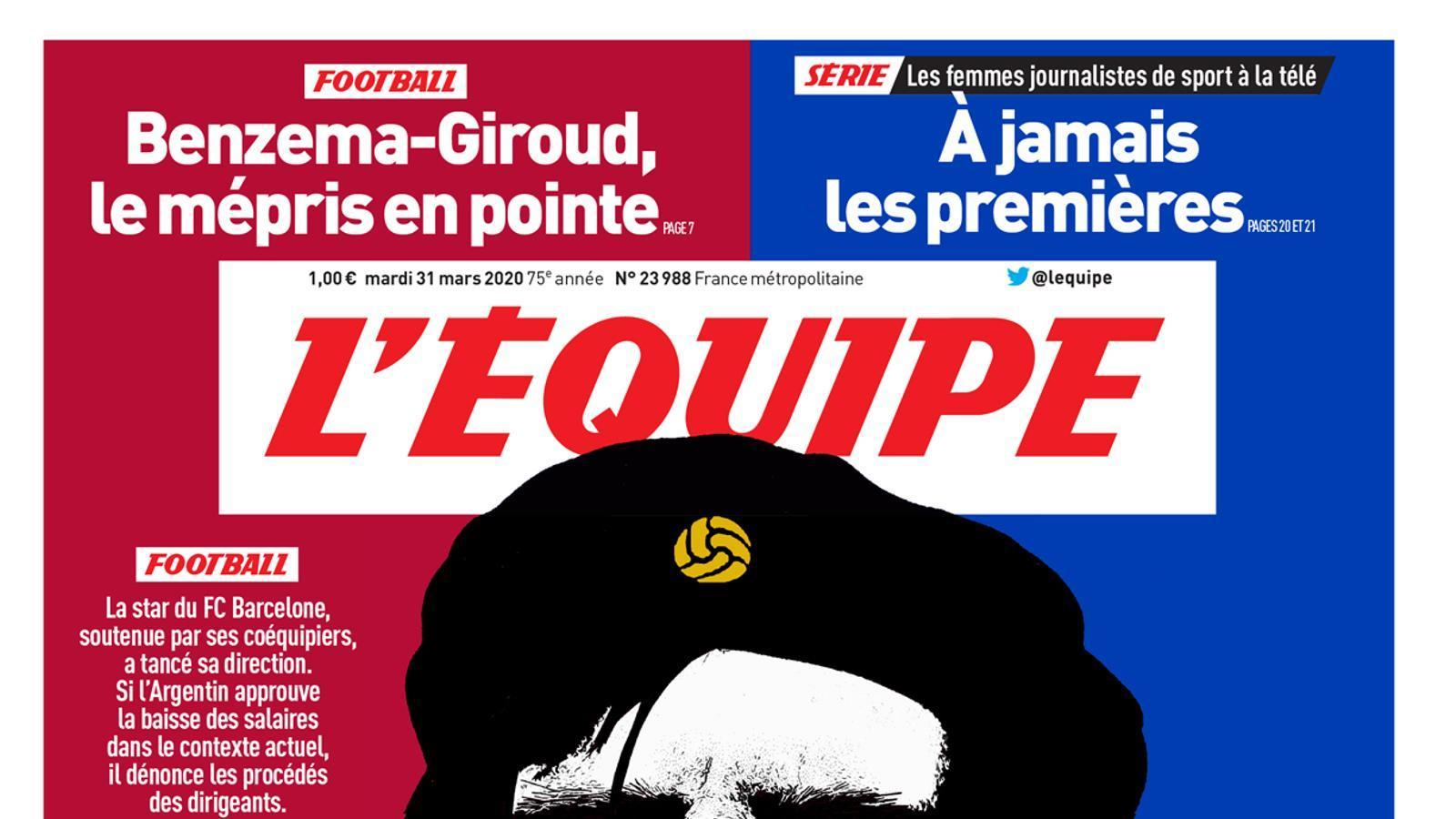 La portada de 'LÉquipe' d'aquest dimarts