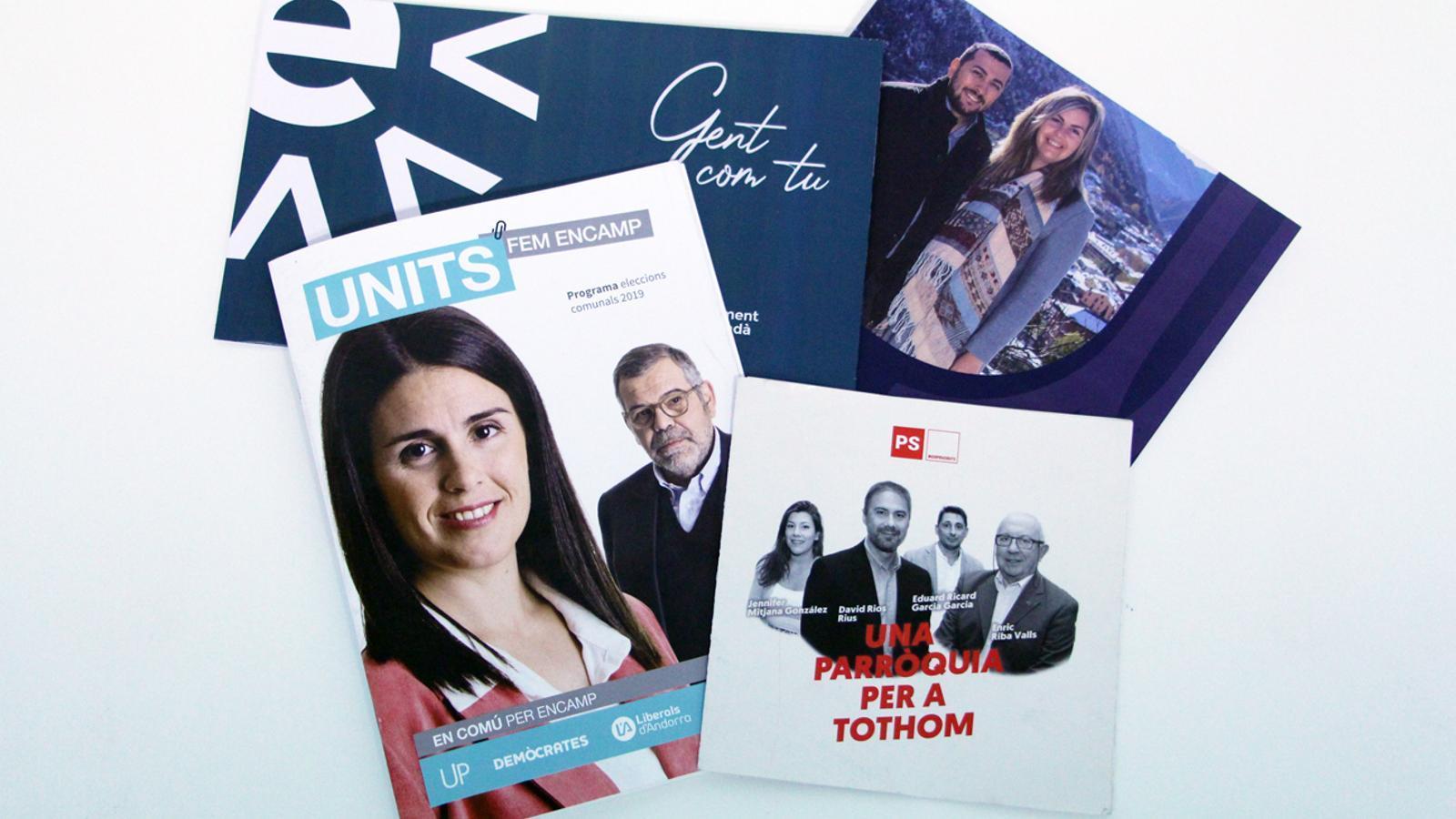 Els programes electorals de les quatre candidatures que es presenten a Encamp. / ANA