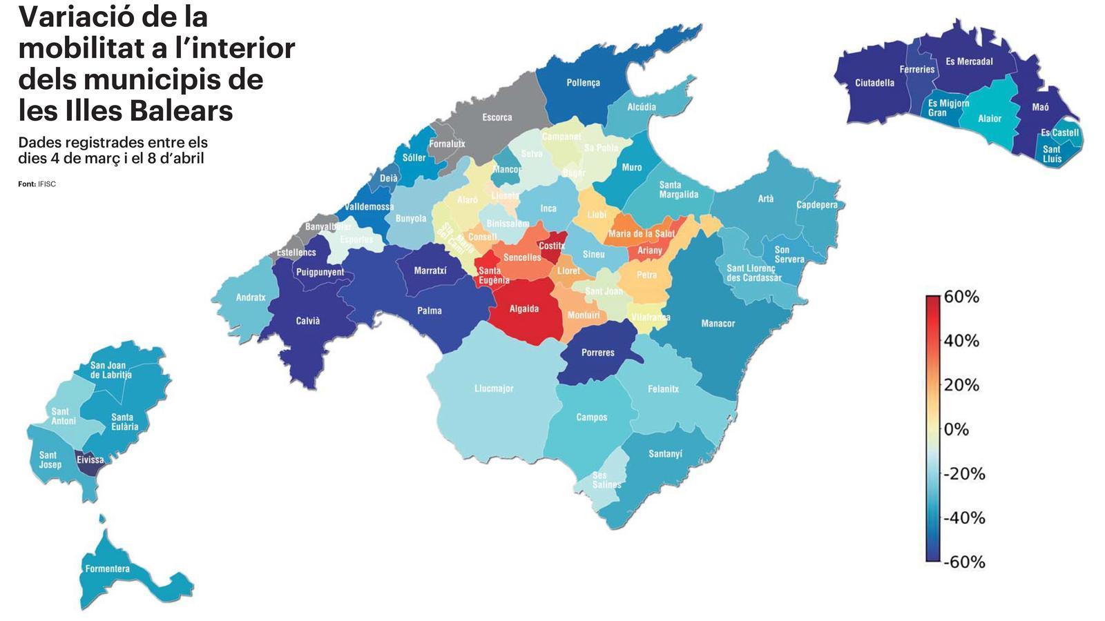 Dades registrades entre els dies 4 de març i 8 d'abril Els pobles d'interior, rècord en desplaçaments durant el confinament