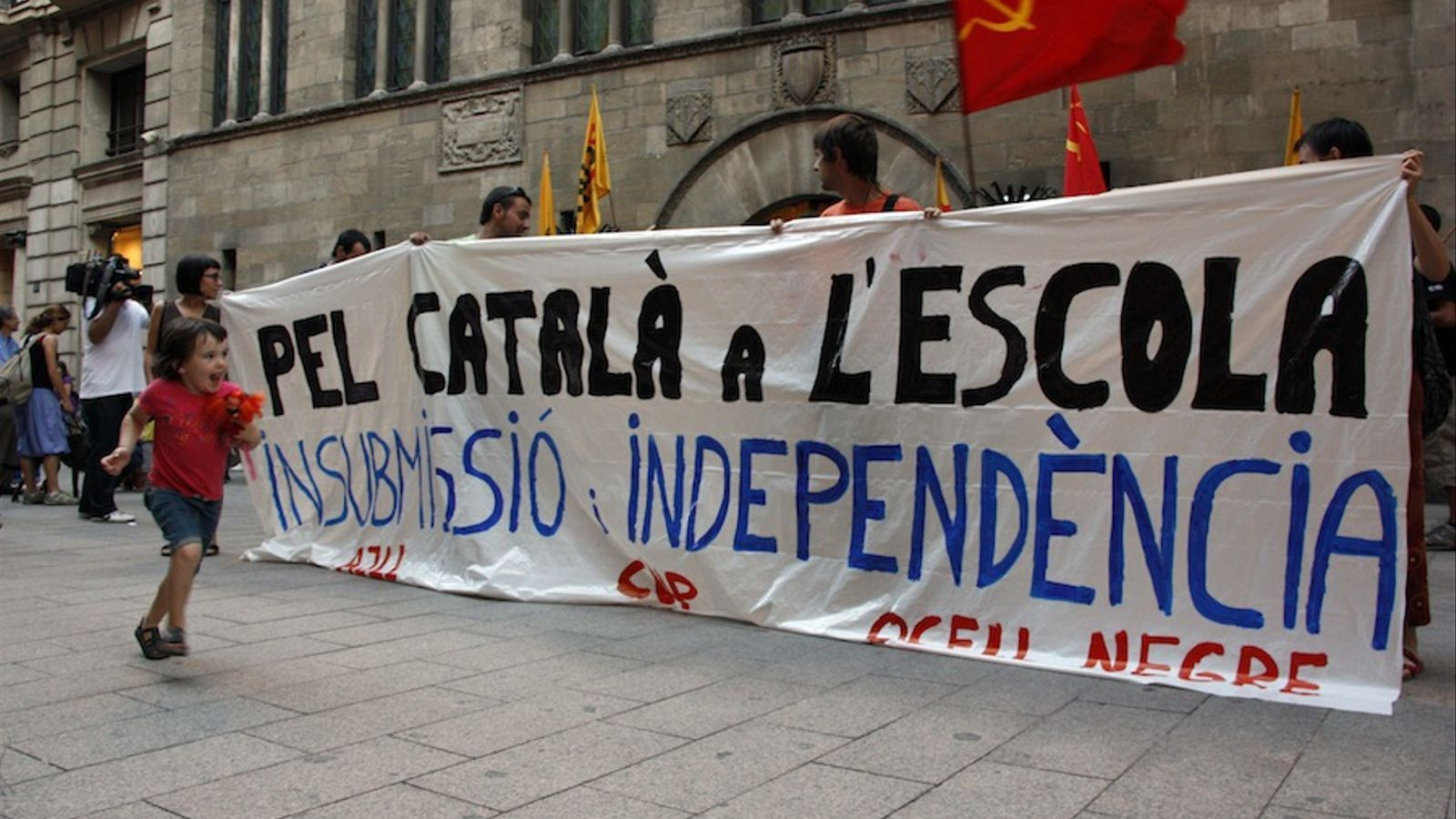 Unes setanta persones s'han concentrat a Lleida en defensa de la immersió / ACN