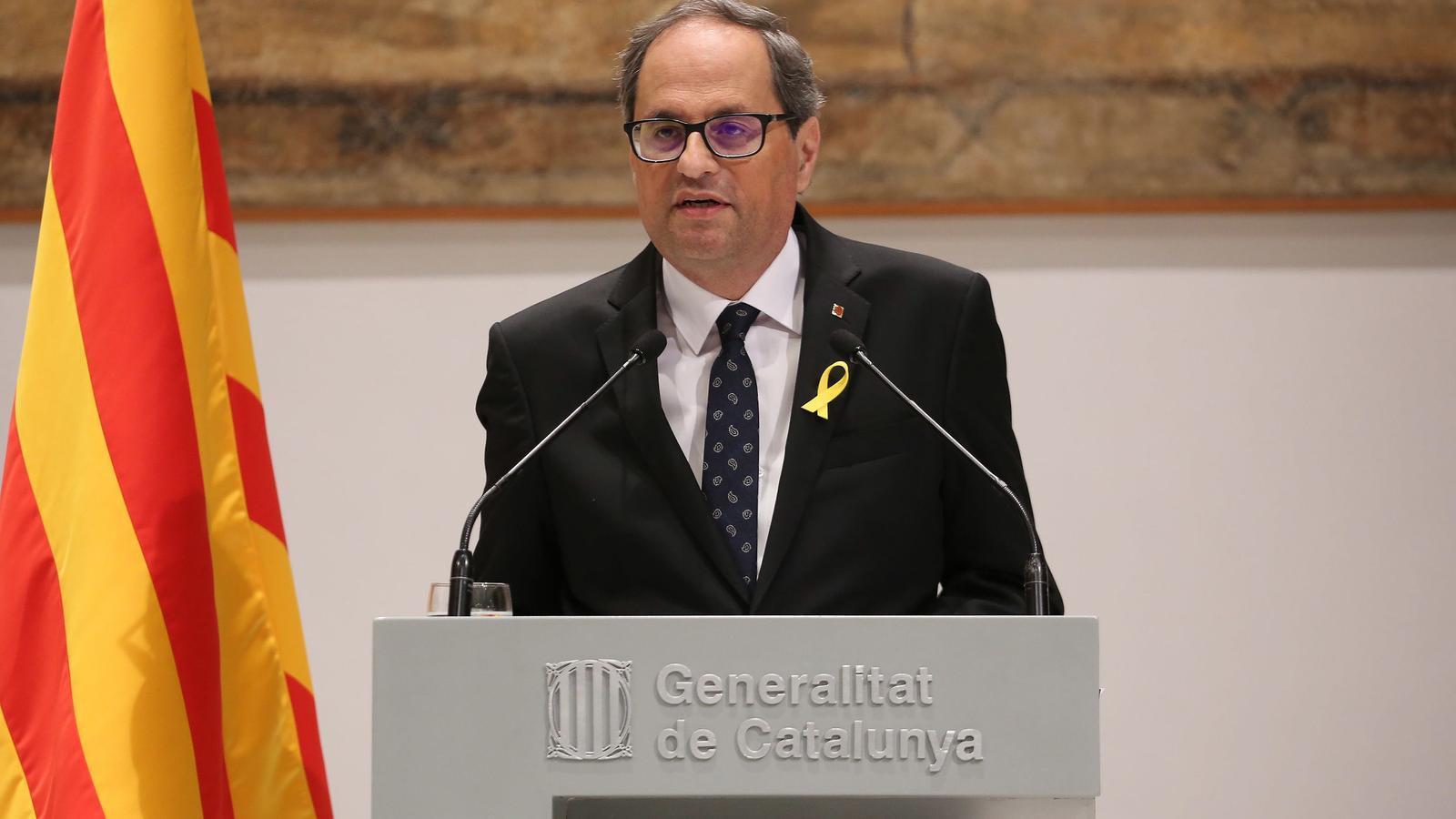 El president de la Generalitat, Quim Torra, durant la declaració institucional