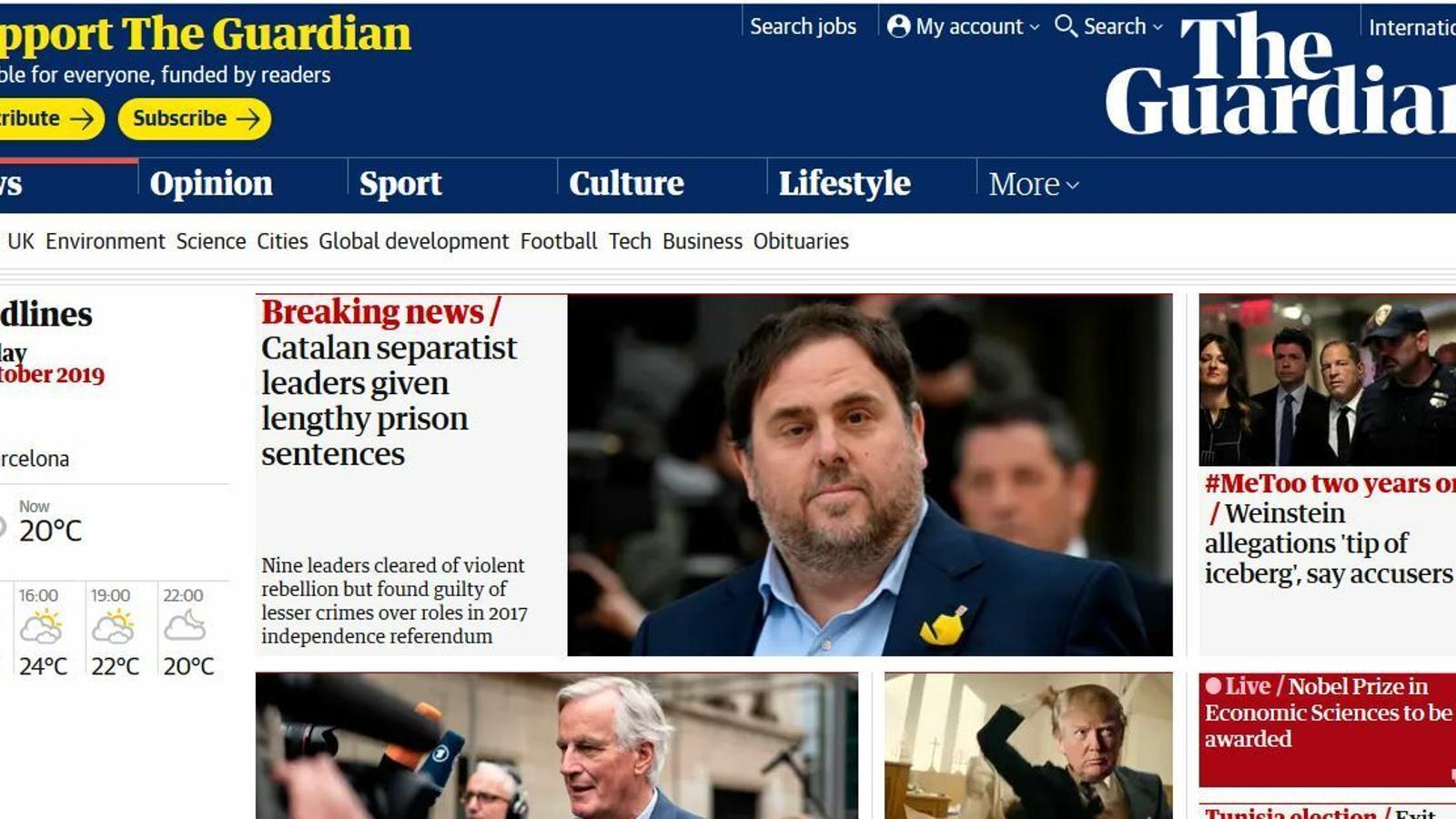La premsa internacional es fa ressò de la condemna als dirigents independentistes catalans