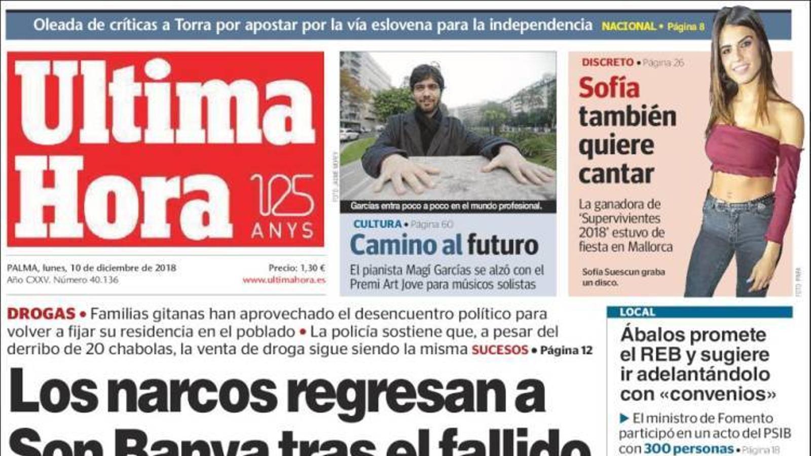 """""""Els narcos tornen a Son Banya després del fallit desallotjament del poblat"""", portada d''Última Hora'"""