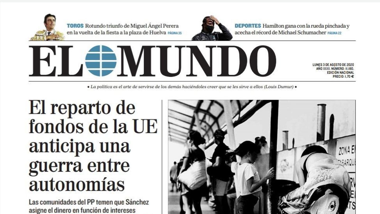 La portada d''El Mundo' del 3 d'agost de 2020