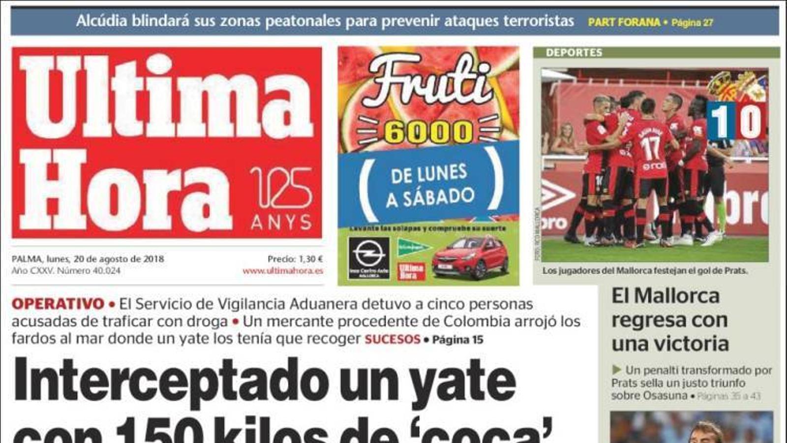 """""""Interceptat un iot amb 150 quilos de 'coca' entre Eivissa i Mallorca"""", portada de l''Última Hora'"""