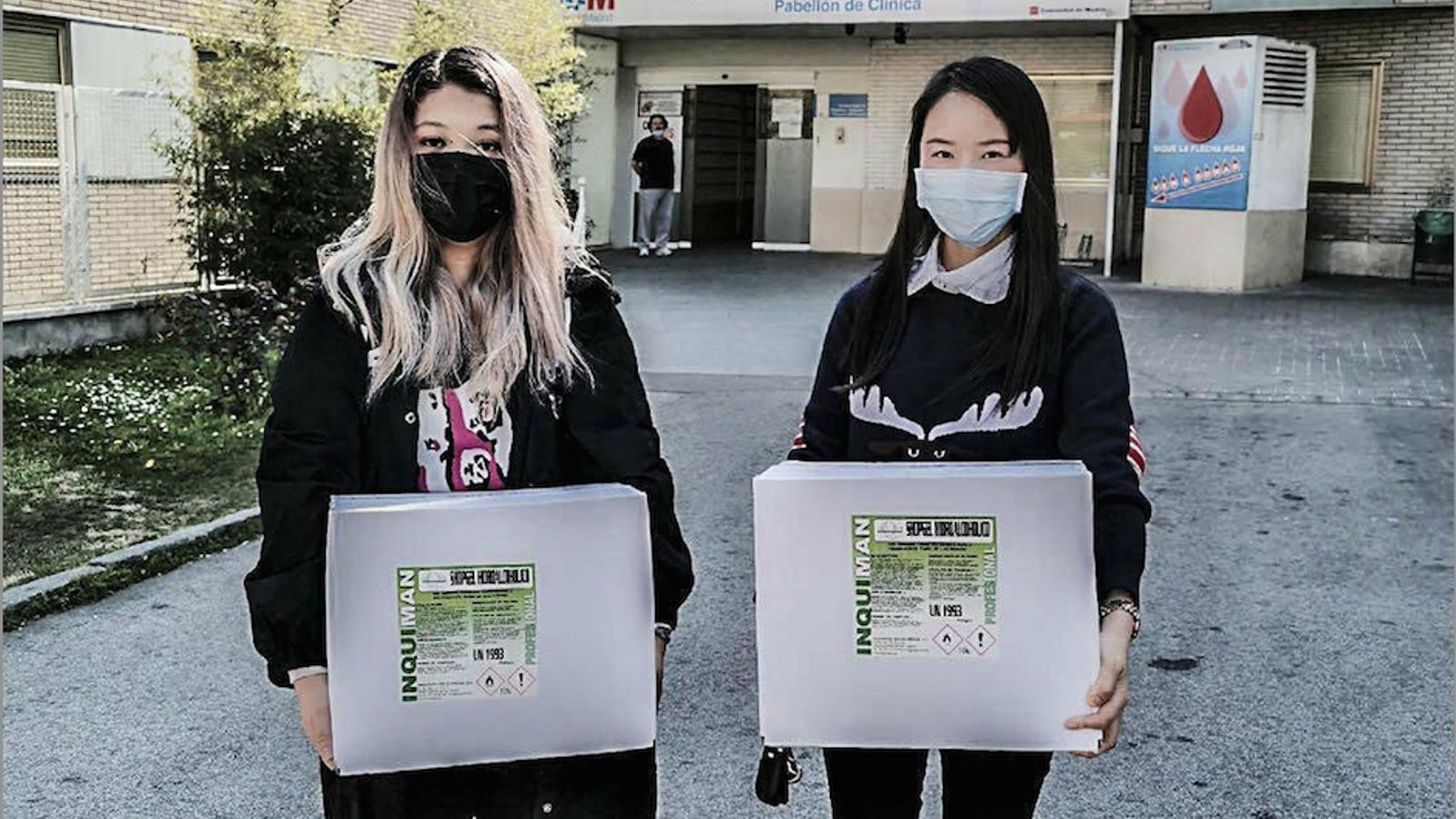 Imatge d'una de les donacions de material que ha fet la comunitat xinesa aquesta setmana