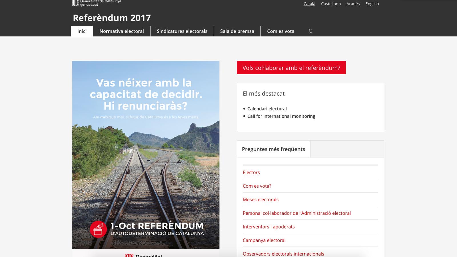 Un jutge força el tancament de la web del referèndum però la Generalitat la reobre