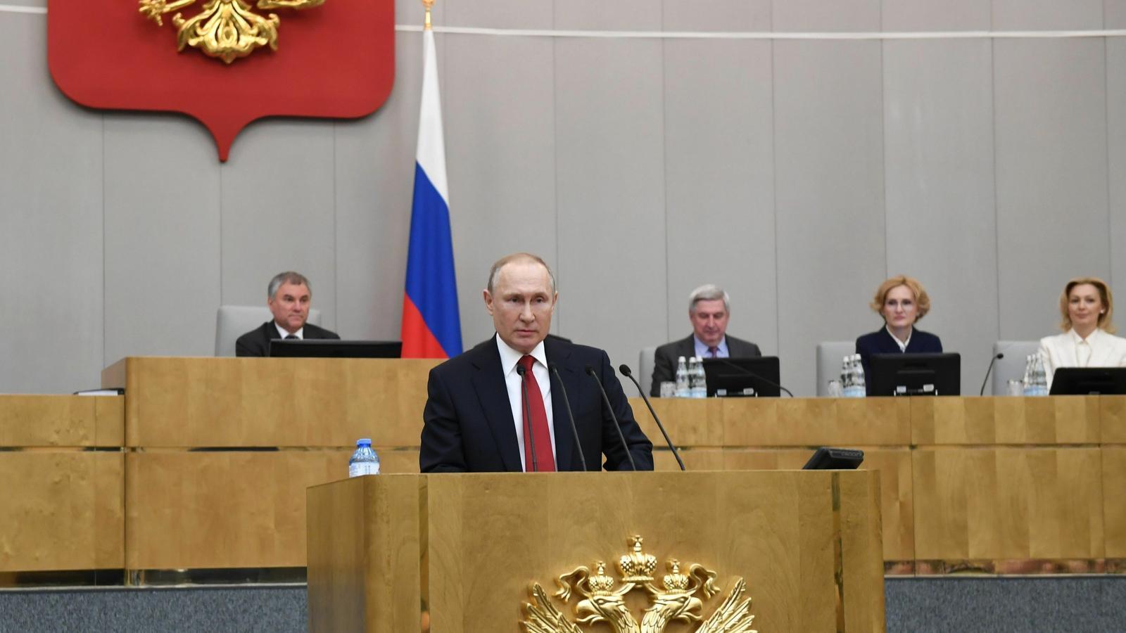El president rus, Vladimir Putin, en el seu discurs davant de la Duma per donar suport a la reforma legislativa que li permetrà tornar-se a presentar president.