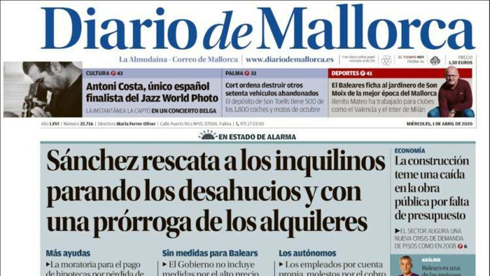 """""""Sánchez rescata els inquilins aturant els desnonaments i amb una pròrroga dels lloguers"""", portada de 'Diario de Mallorca'"""
