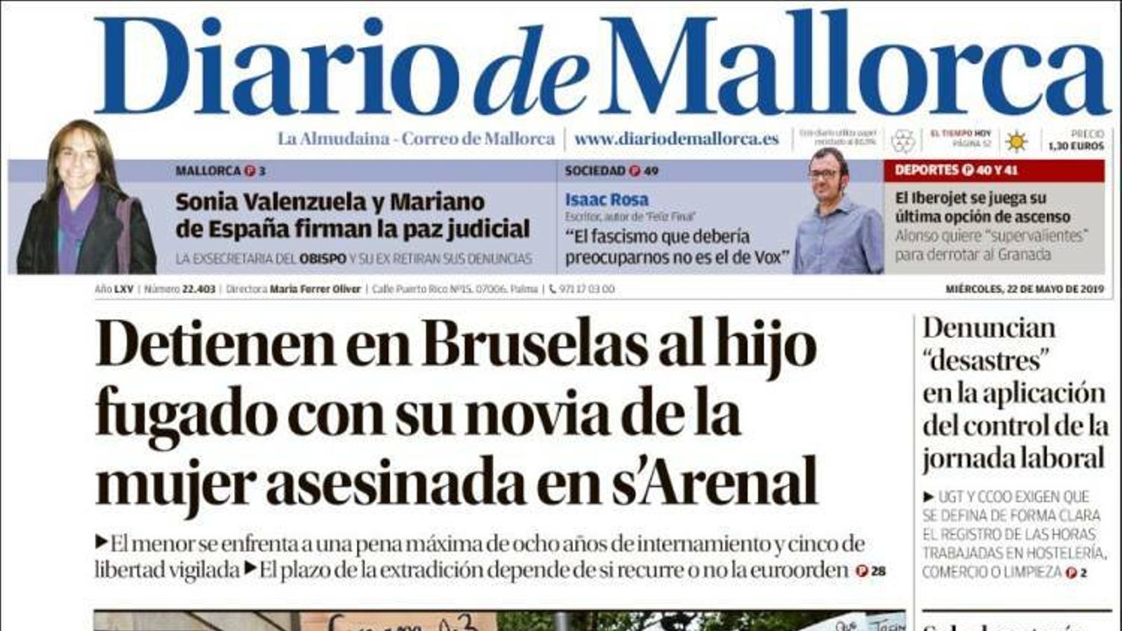 """""""Detenen a Brussel·les al fill fugat amb la seva parella de la dona assassinada a l'Arenal"""", portada de 'Diario de Mallorca'"""
