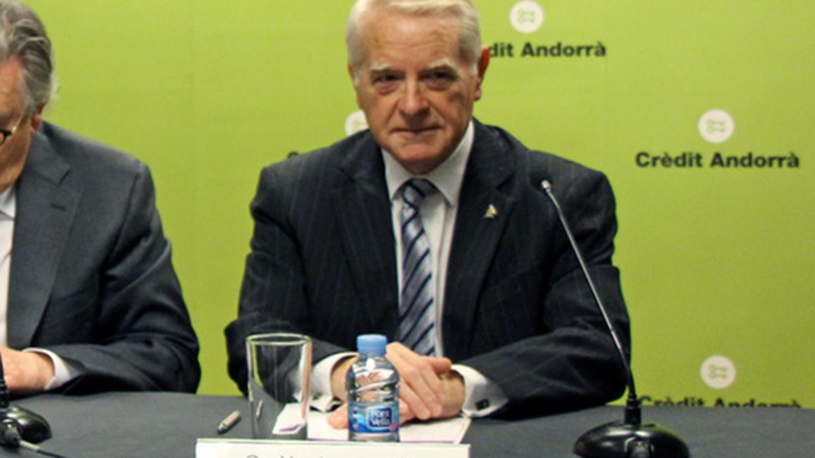 Juvillà durant la presentació de la 26a Trobada Empresarial del Pirineu. / ARXIU