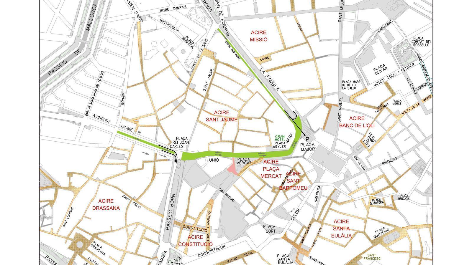 Proposta de nova ordenació de trànsit al centre