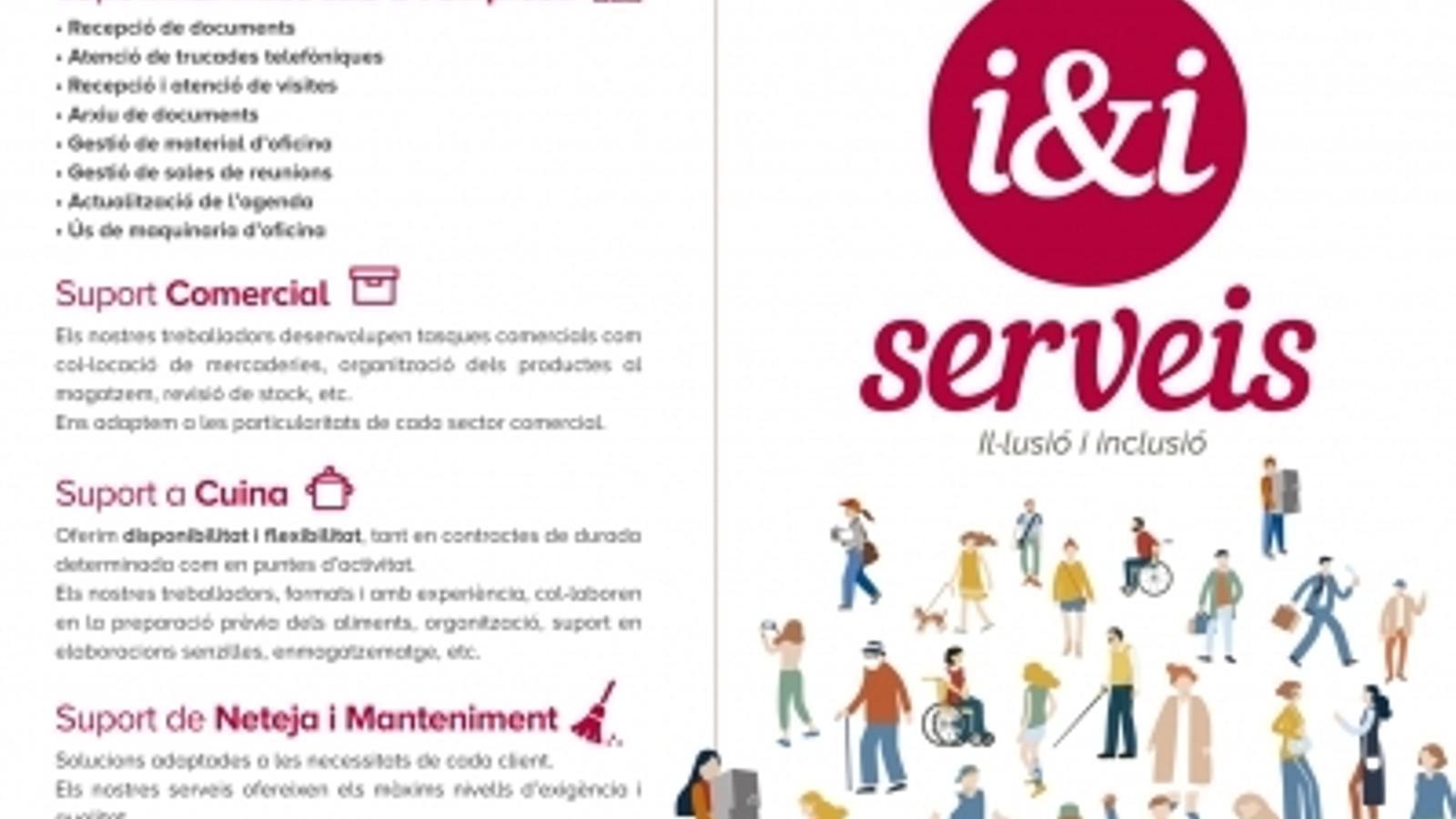 El tríptic que anuncia els serveis de l'empresa. / I&I SERVEIS