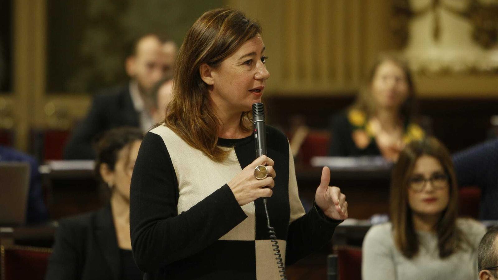 La presidenta del Govern balear, Francina Armengol, durant una de les seves intervencions en el Parlament