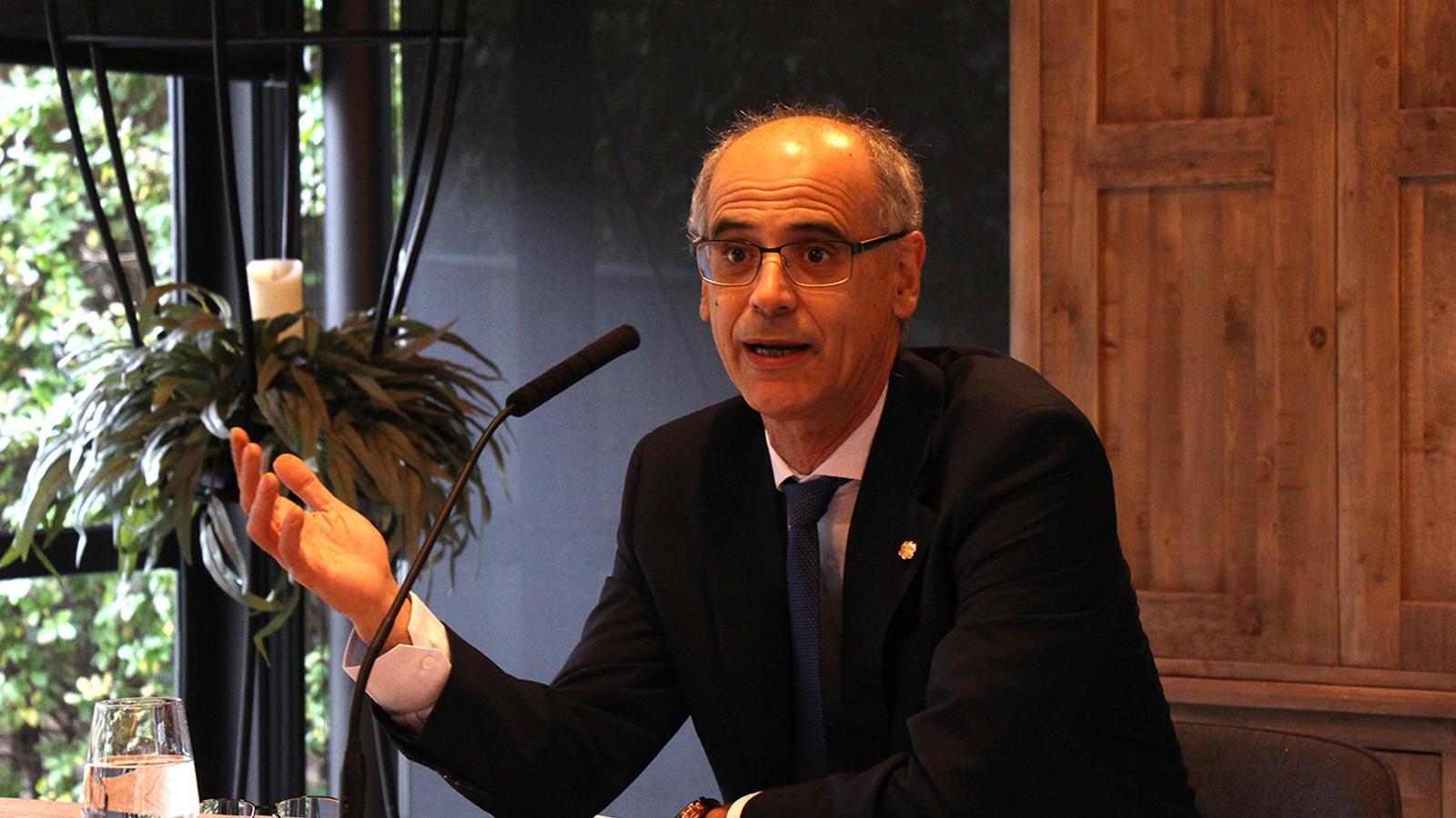 El cap de Govern, Toni Martí, durant el tradicional esmorzar amb els mitjans de comunicació. / M. F. (ANA)