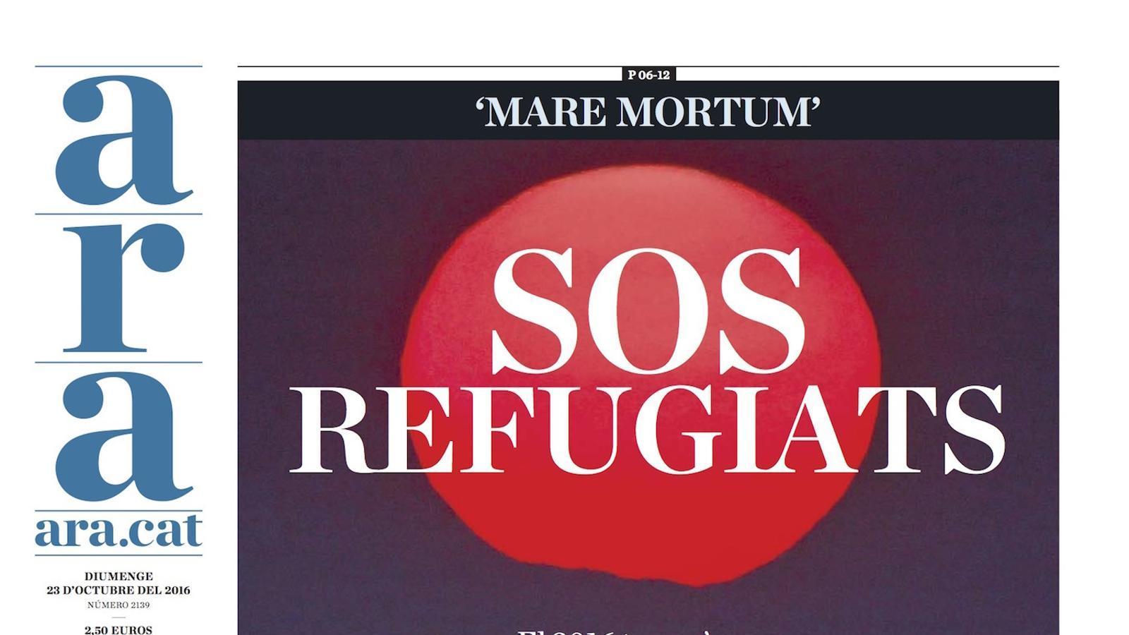 """""""SOS refugiats"""", a la portada de l'ARA de diumenge"""