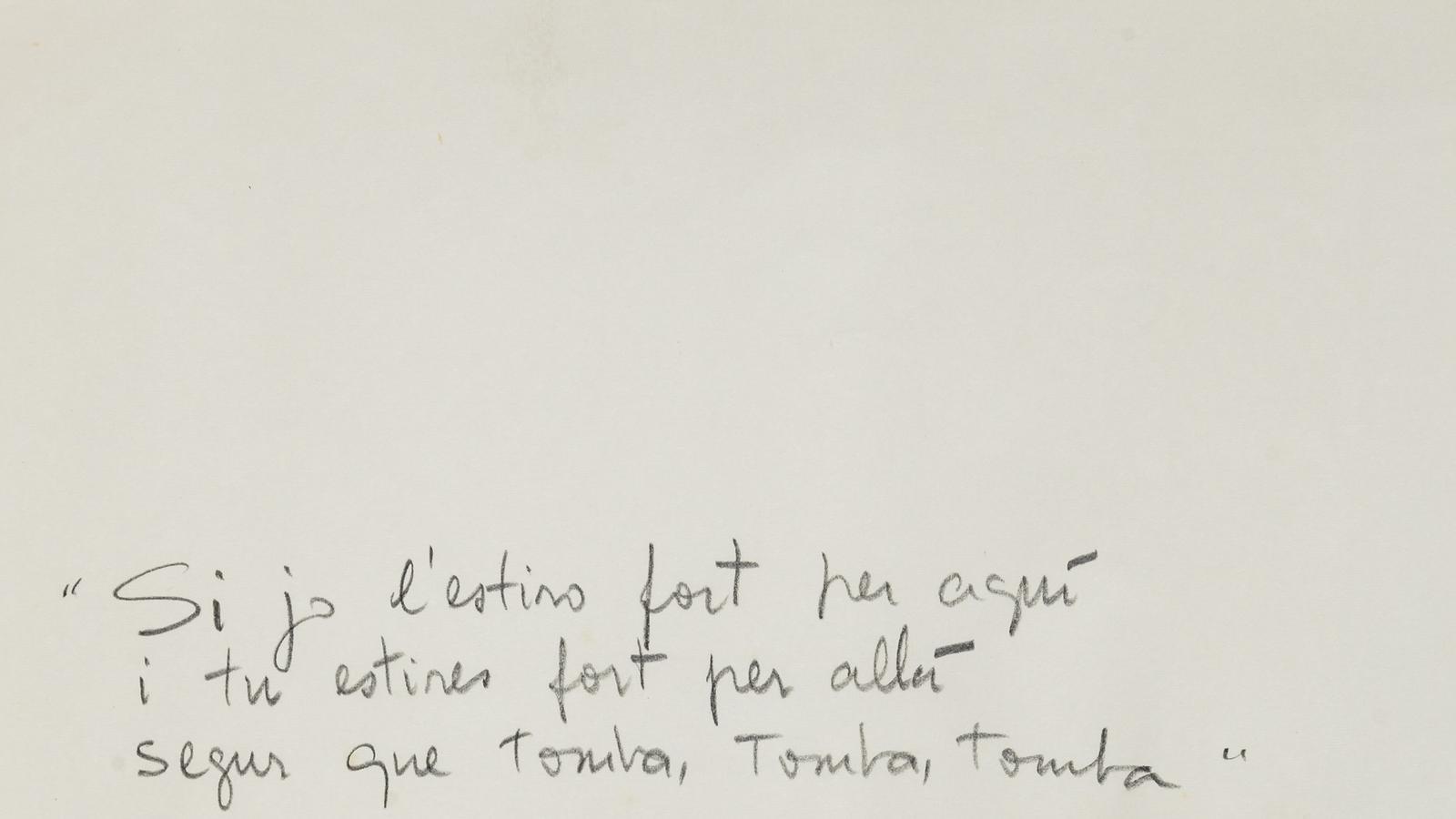 Una de les fotografies de la sèrie 'Memòria de Barcelona', de Vera Chaves Barcellos, amb un fragment de 'L'estaca'
