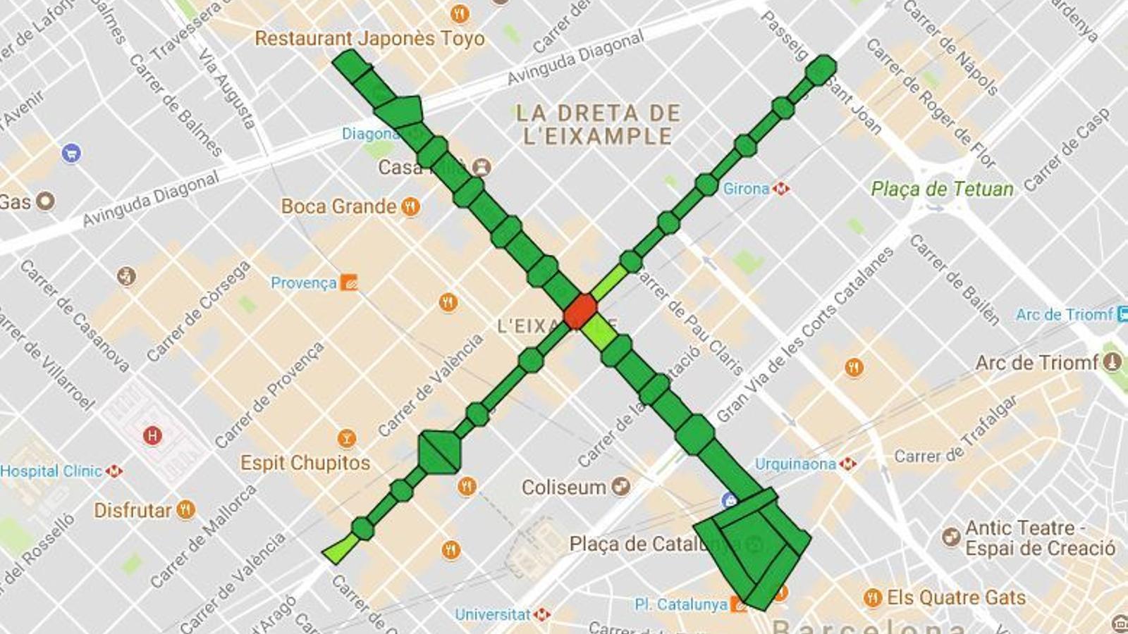 Mapa d'ocupació de trams per a la mobilització de la Diada 2017