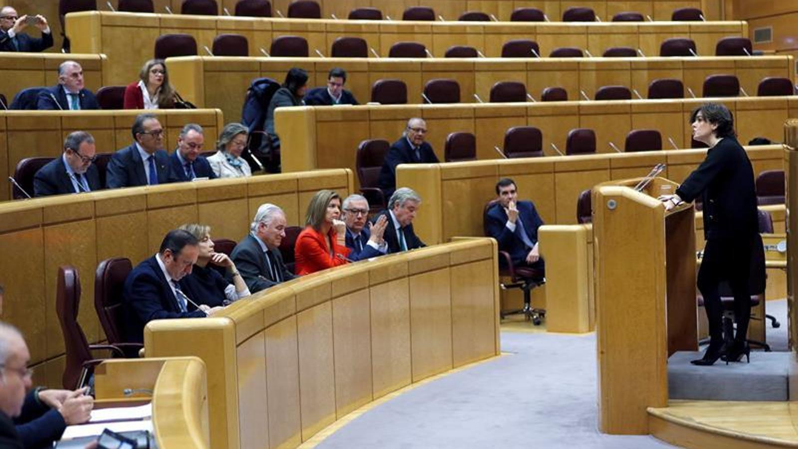 La vicepresidenta del govern espanyol, Soraya Sáenz de Santamaría, compareix al Senat per fer balanç de l'aplicació del 155