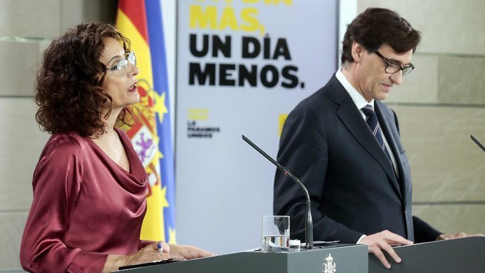 Roda de premsa de María Jesús Montero, Nadia Calviño i Salvador Illa posterior al consell de ministres