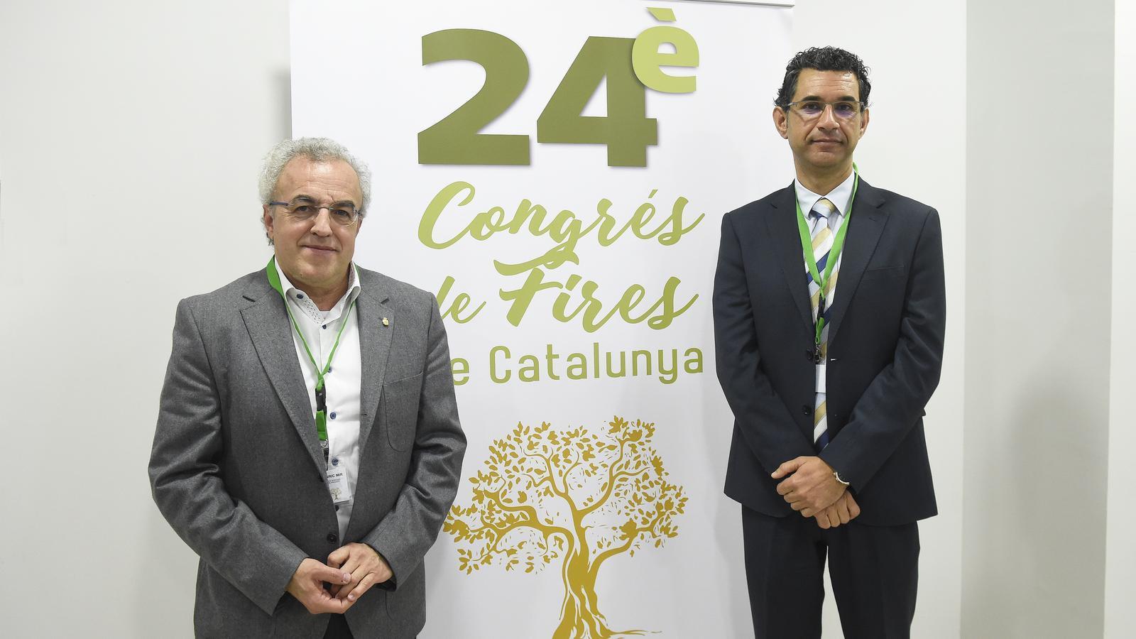 L'alcalde de Les Borges Blanques, Enric Mir, i el president de FEFIC, Ramon Ferrando, durant l'acte inaugural d'aquest dimecres