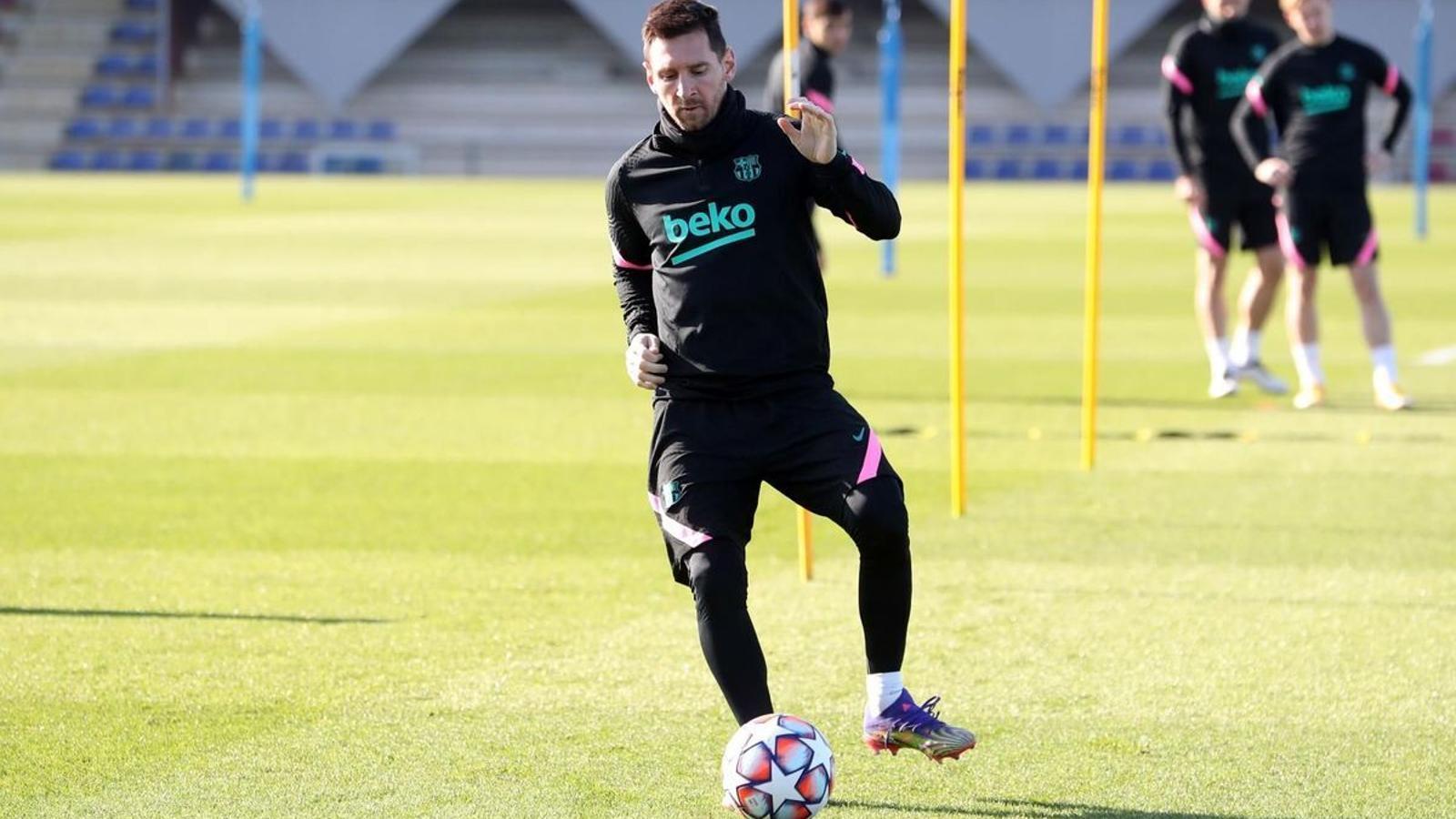 Leo Messi en l'entrenament d'aquest dilluns