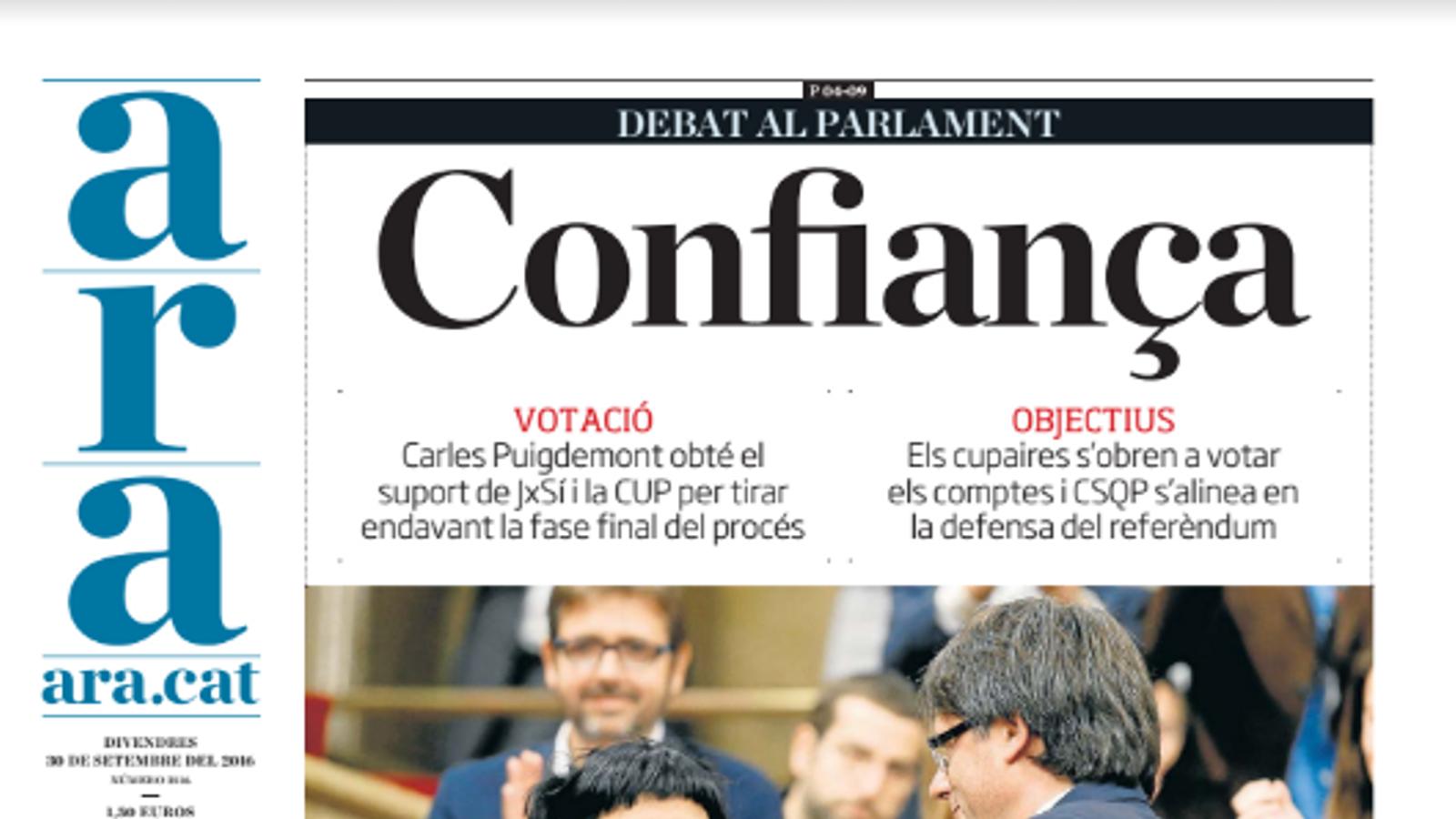 """""""Confiança"""", portada de l'ARA d'aquest divendres"""