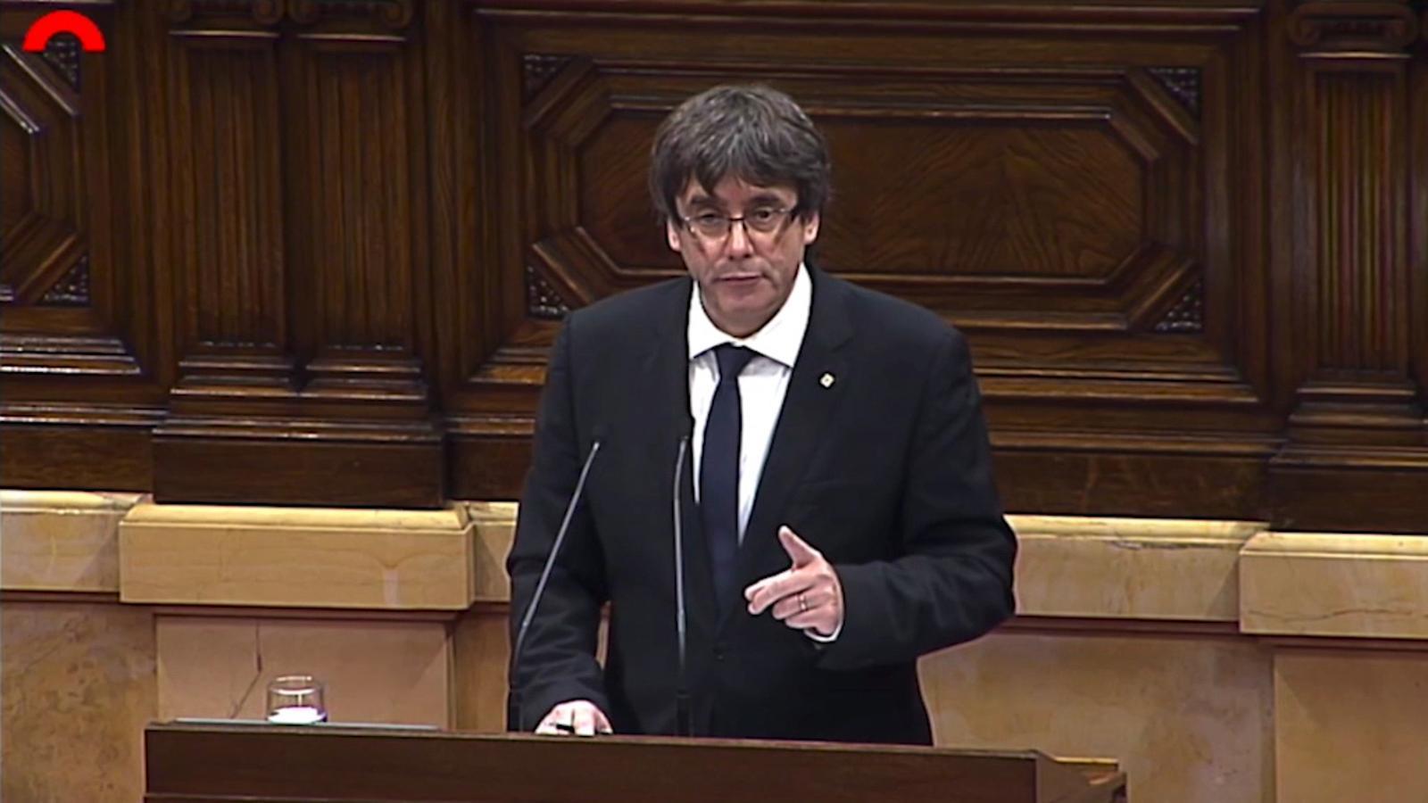 Carles Puigdemont el dia 10 d'octubre al Parlament