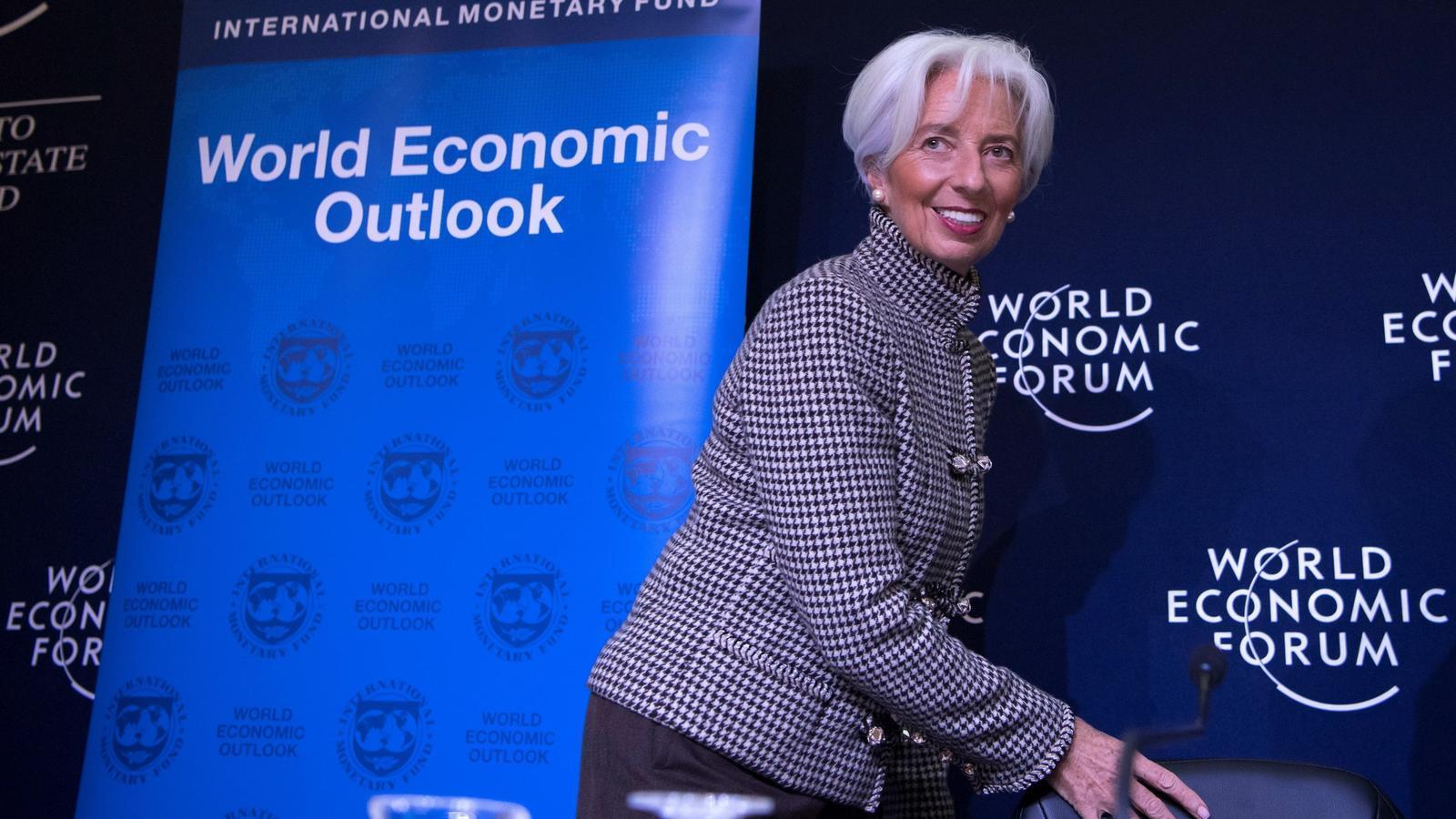 La directora gerent de l'FMI, Christine Lagarde, aquest dilluns a Davos.