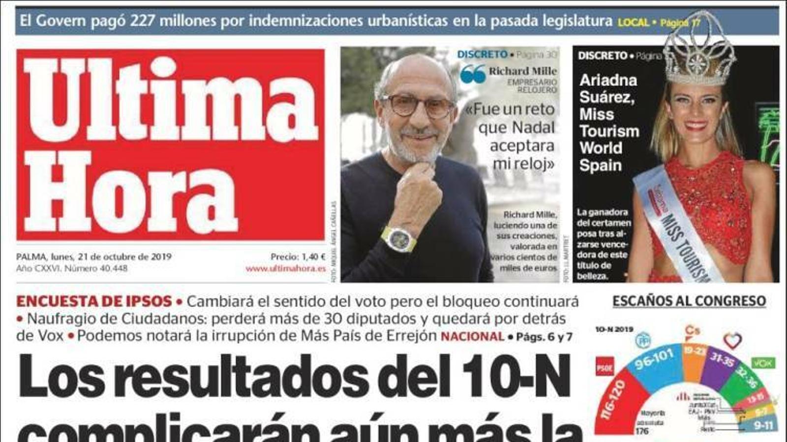 """""""Els resultats del 10-N complicaran encara més la formació d'un govern estatal"""", portada d''Última Hora'"""