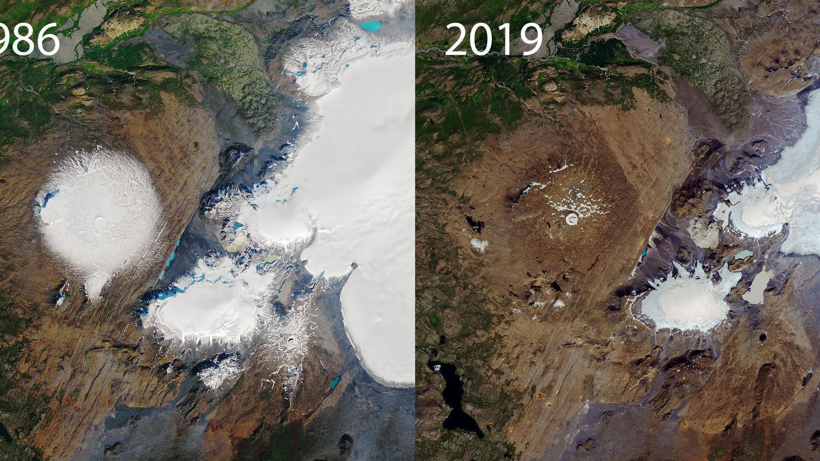 Imatges de la desaparició gradual de la primera glacera declarada 'morta' a Islàndia