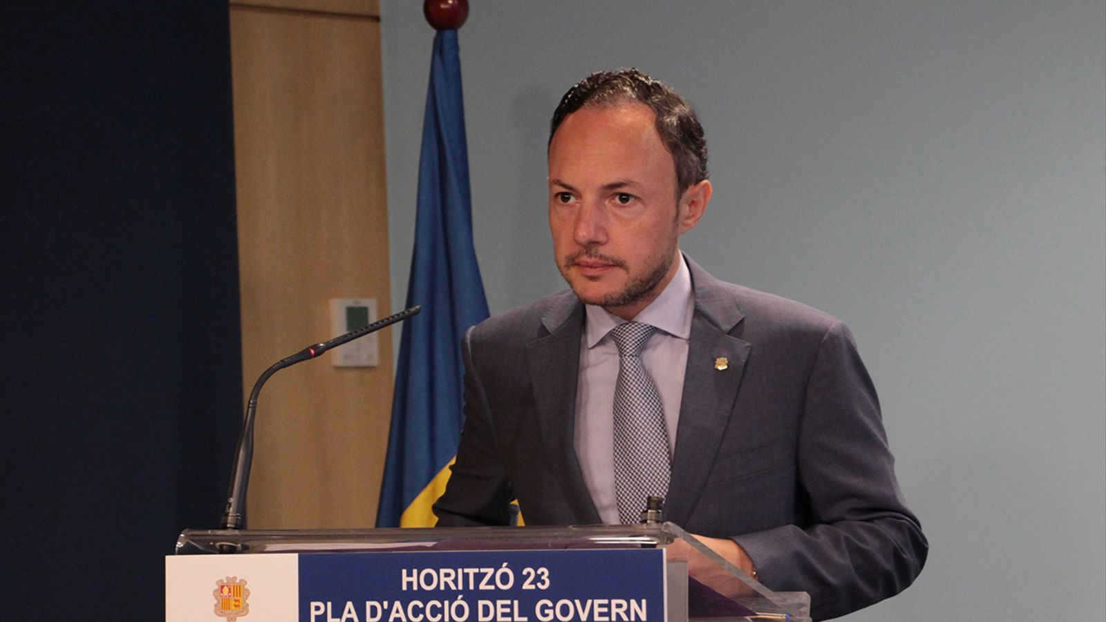 El cap de Govern, Xavier Espot, durant la presentació del full de ruta per a la legislatura