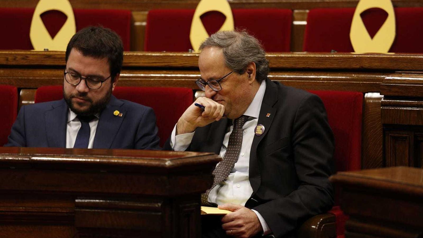 Pere Aragonès i Quim Torra, aquest matí al Parlament