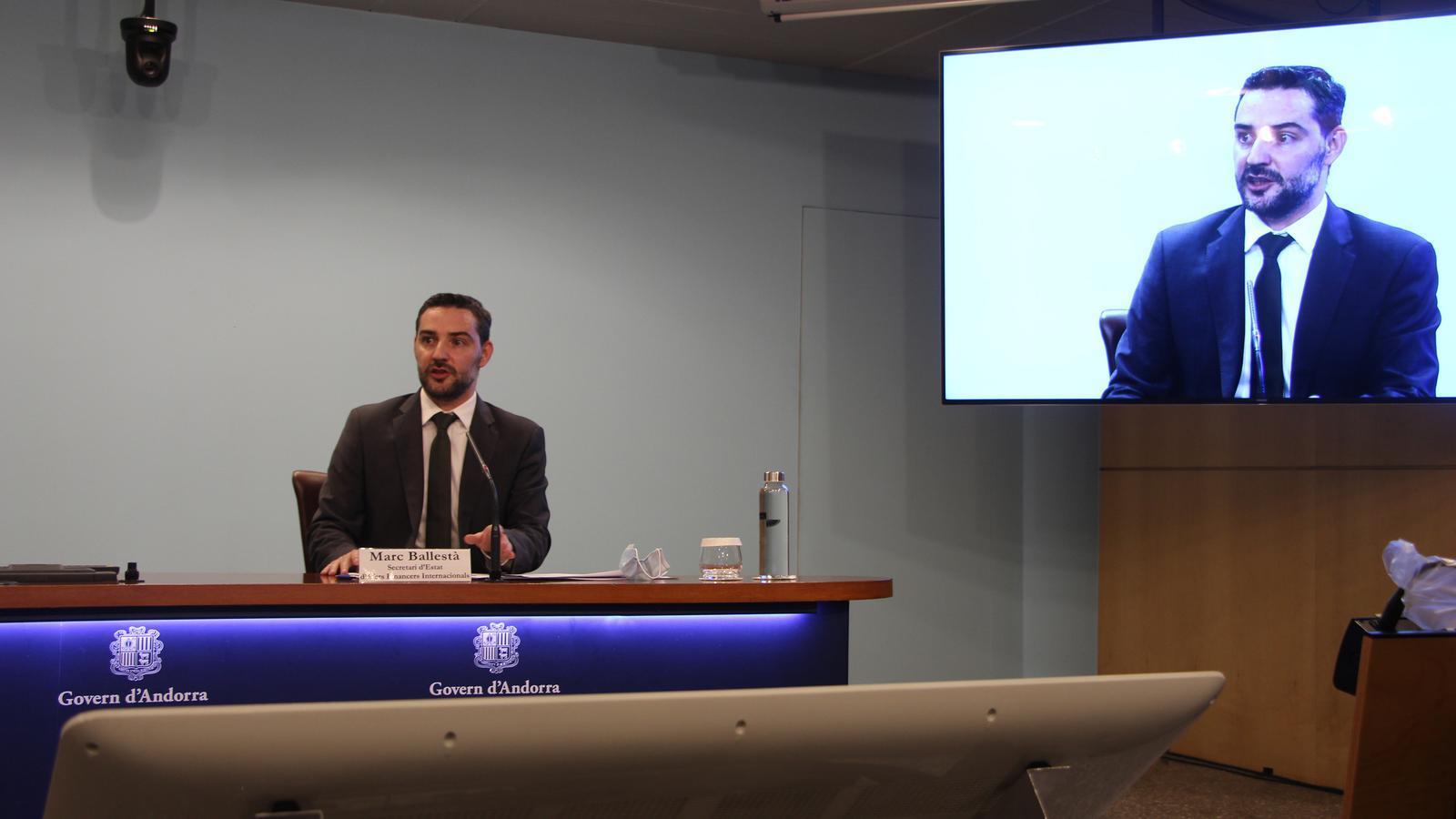 El secretari d'Estat d'Afers Financers Internacionals, Marc Ballestà, durant la presentació del Fons Monetari Internacional