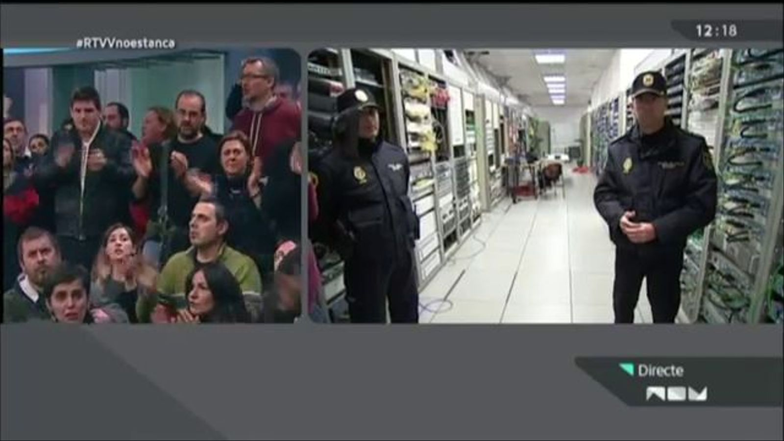 Últim minut de vida de Canal 9: un tècnic escortat per la policia apaga la televisió pública valenciana