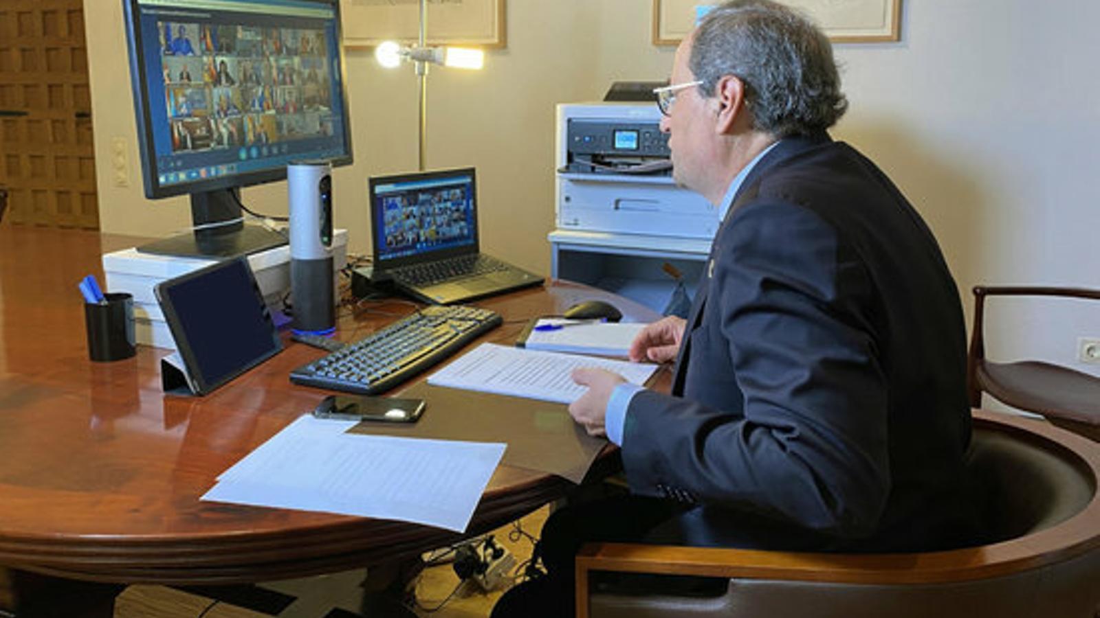 Torra lamenta que Sánchez no imposi el confinament total i reclama més mesures econòmiques