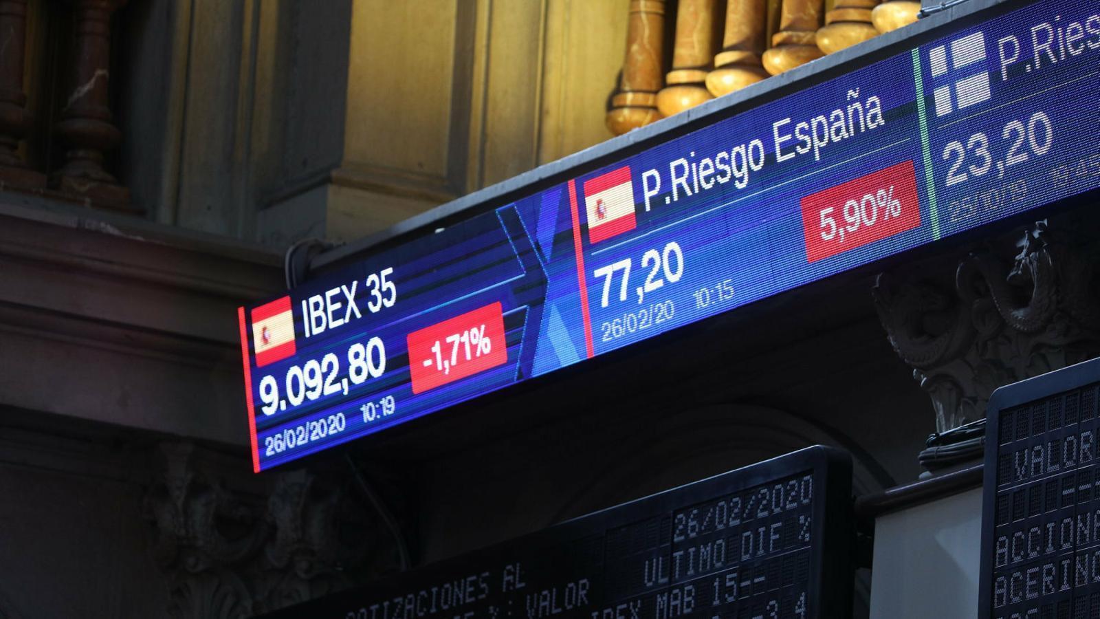 Un panell de la borsa de Madrid