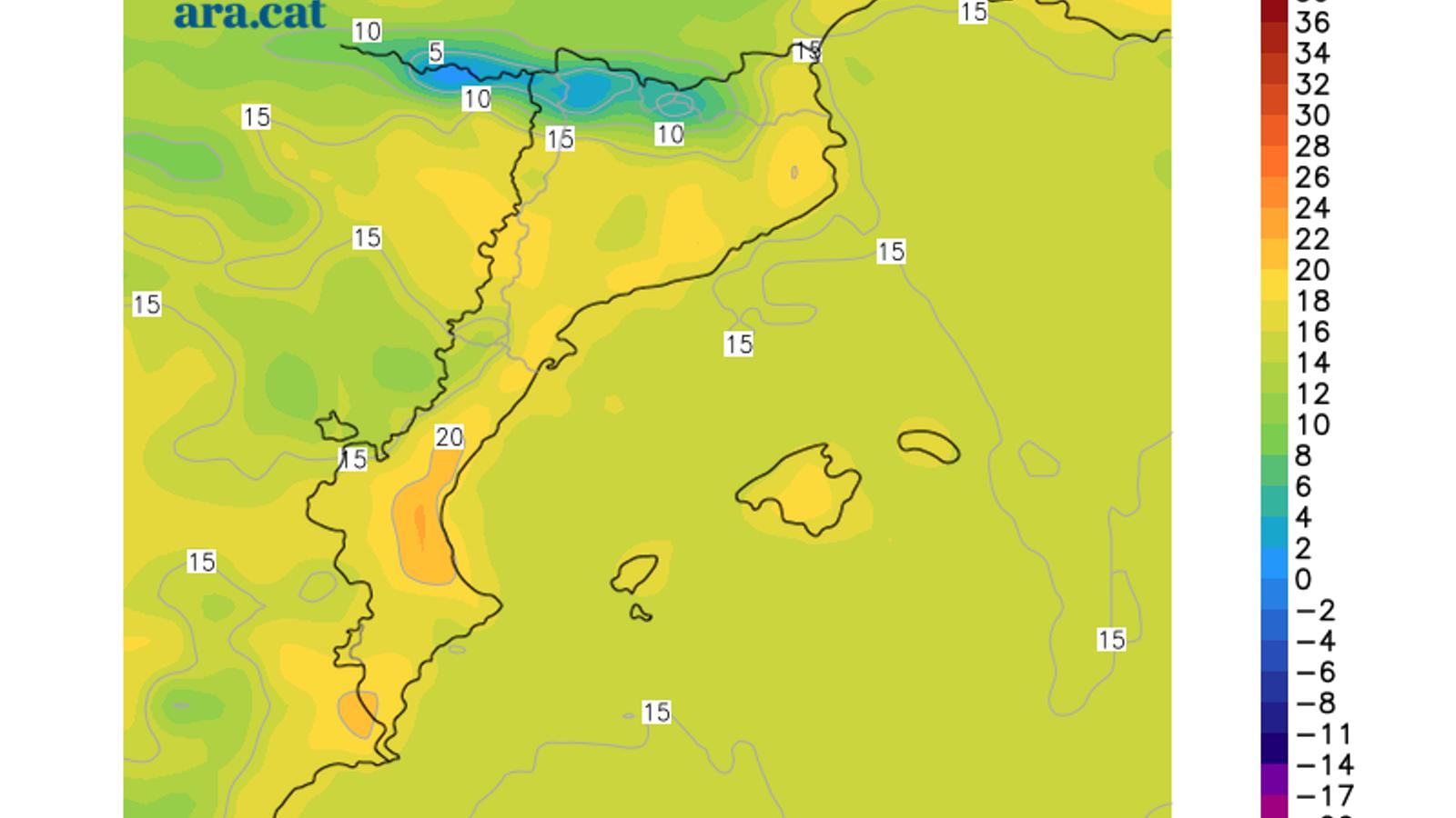 Temperatura màxima prevista per avui