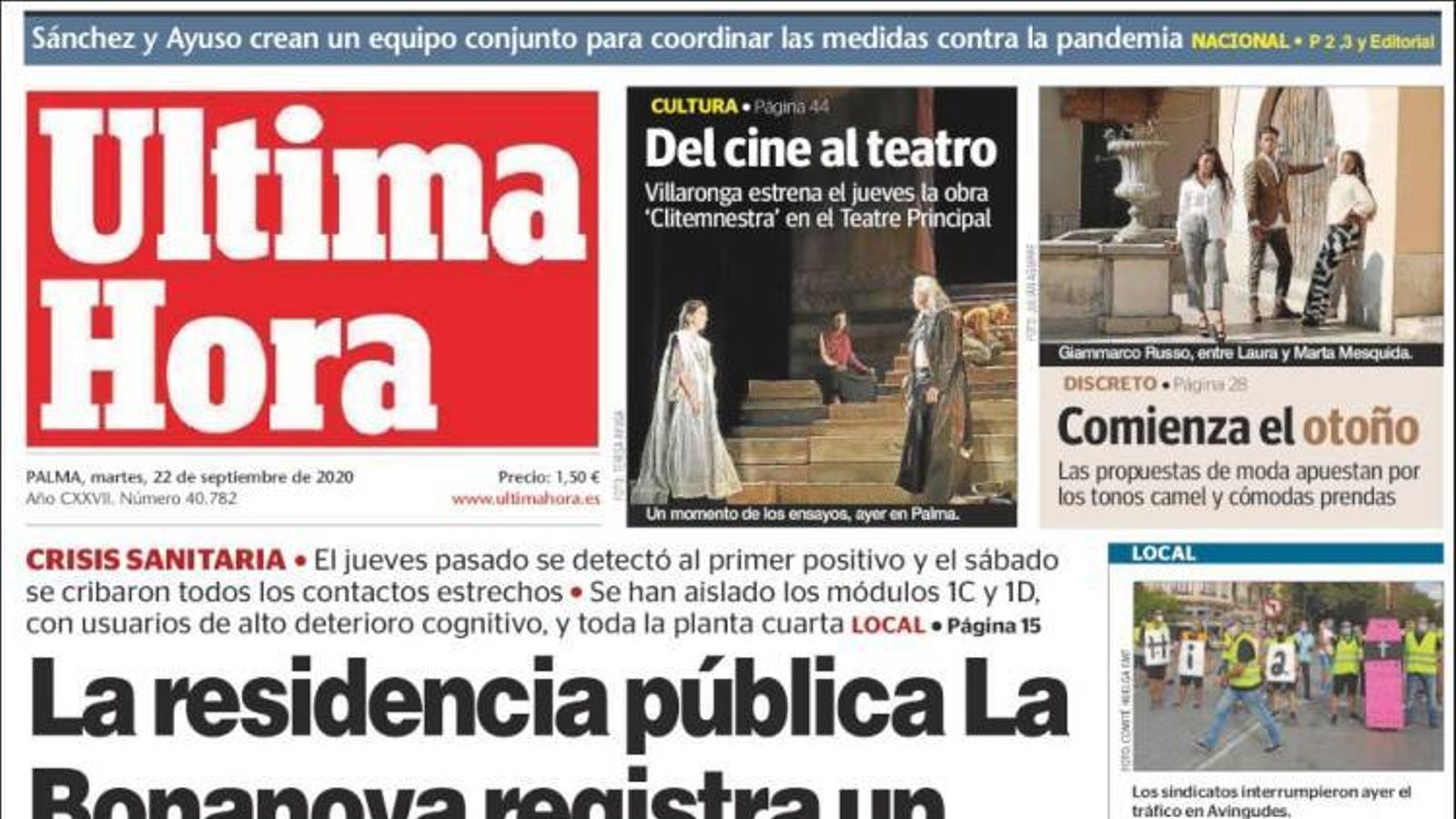 """""""La residència pública La Bonanova registra un brot amb deu contagis"""", portada d''Última Hora'"""
