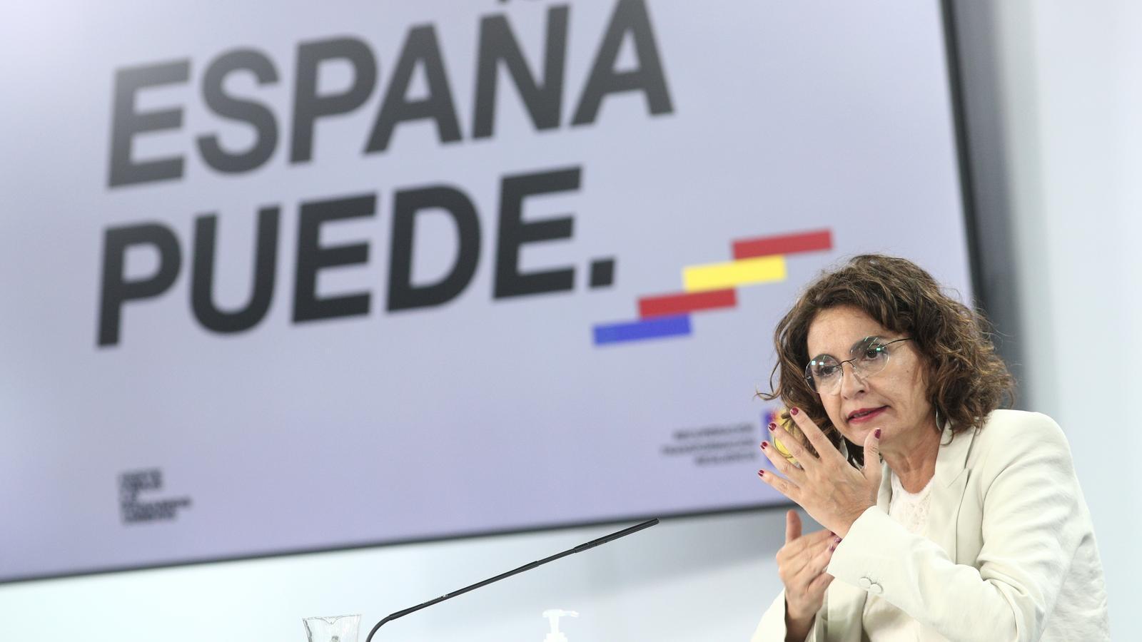 La ministra portaveu i també titular d'Hisenda, María Jesús Montero, en roda de premsa aquest dimarts