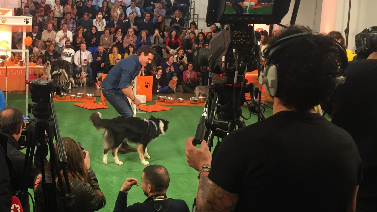 Rivera, aquest divendres, en un acte amb propietaris de gossos