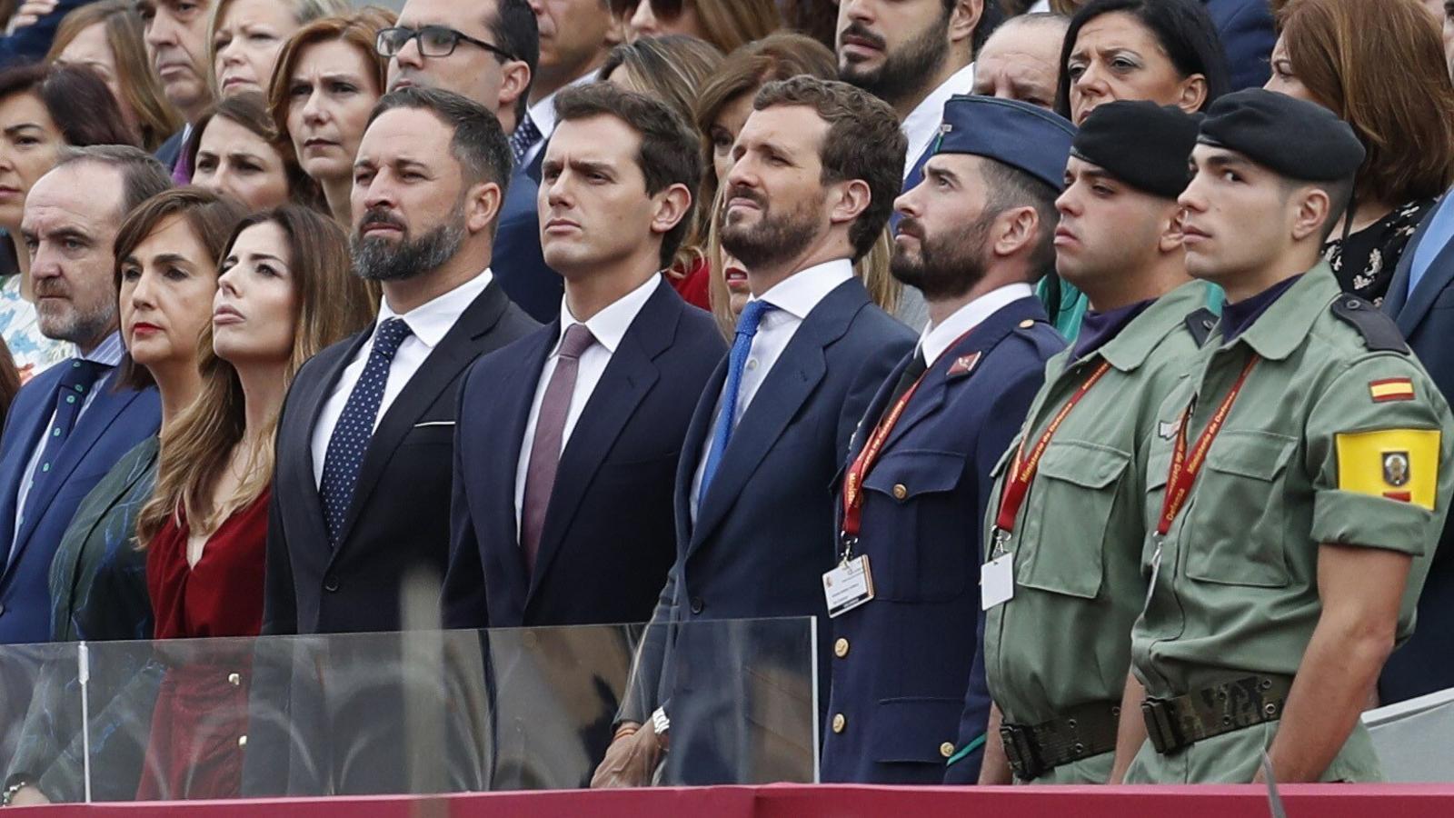 Santiago Abascal, Albert Rivera i Pablo Casado, aquest matí