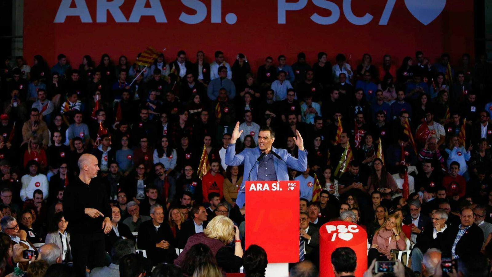 Pedro Sánchez, durant el míting final
