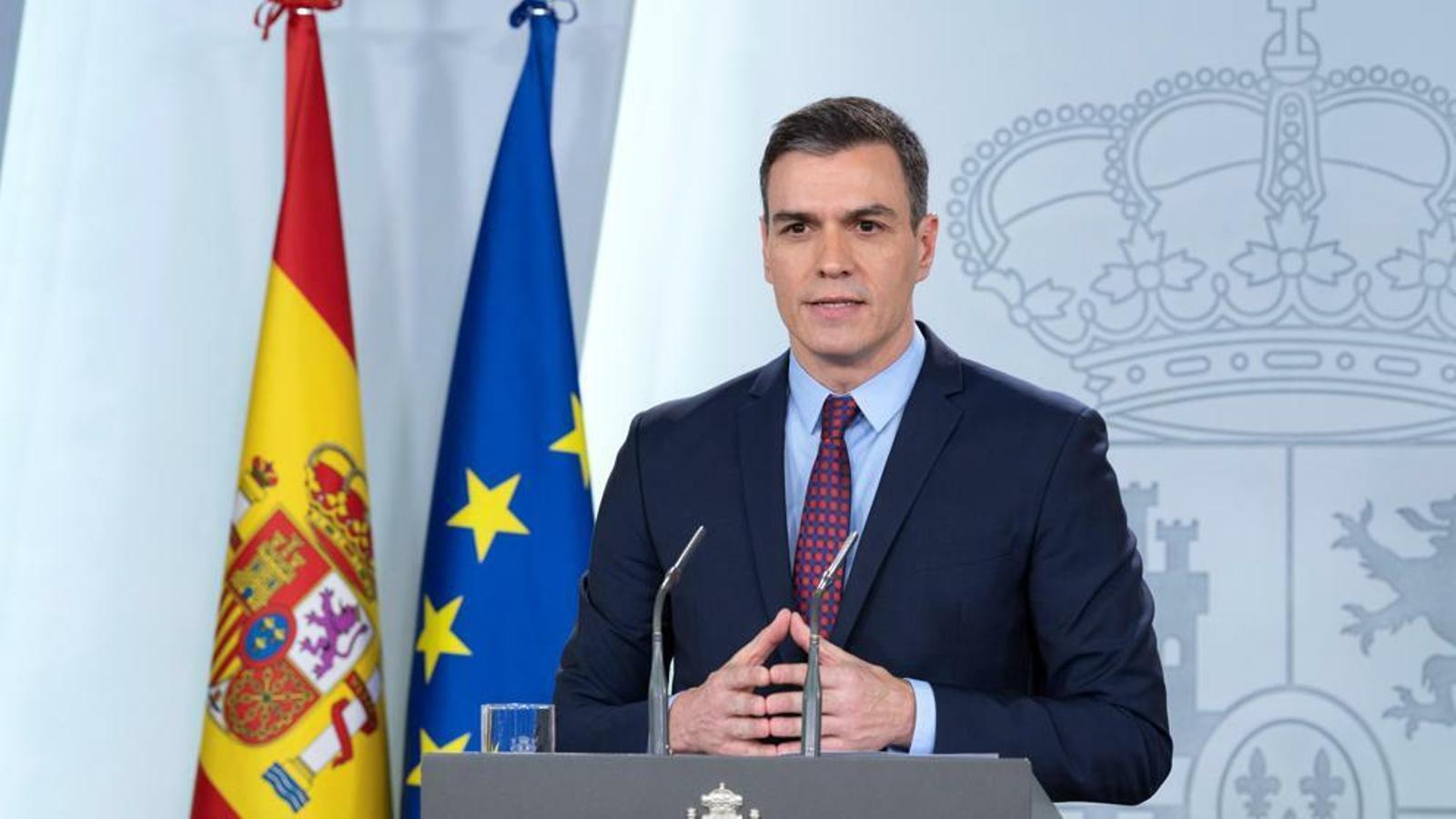 Pedro Sánchez, en la compareixença en què va anunciar l'estat d'alarma
