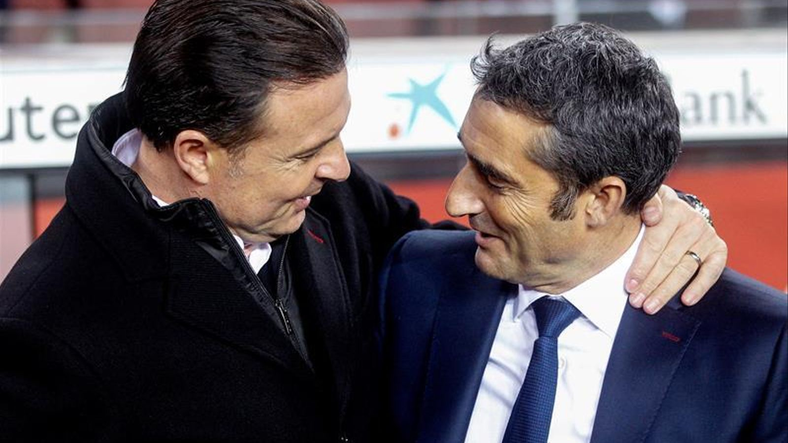 Cristóbal Parralo i Ernesto Valverde, abans del Barça-Dépor